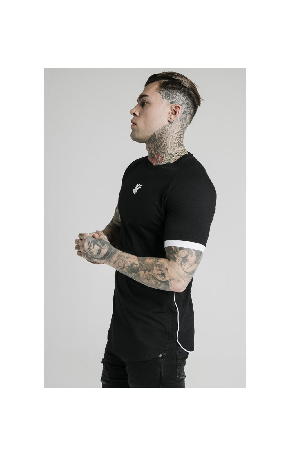 Charger l'image dans la galerie, SikSilk S/S Fade Piping Tech Tee - Black & Fluro