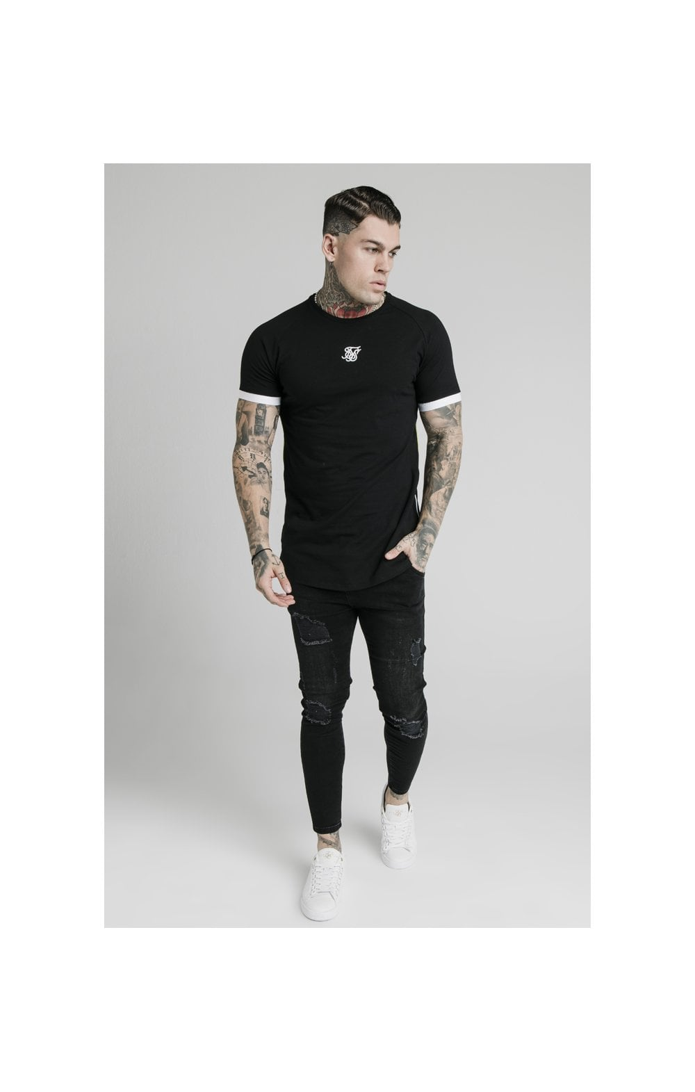 Charger l'image dans la galerie, SikSilk S/S Fade Piping Tech Tee - Black & Fluro (3)