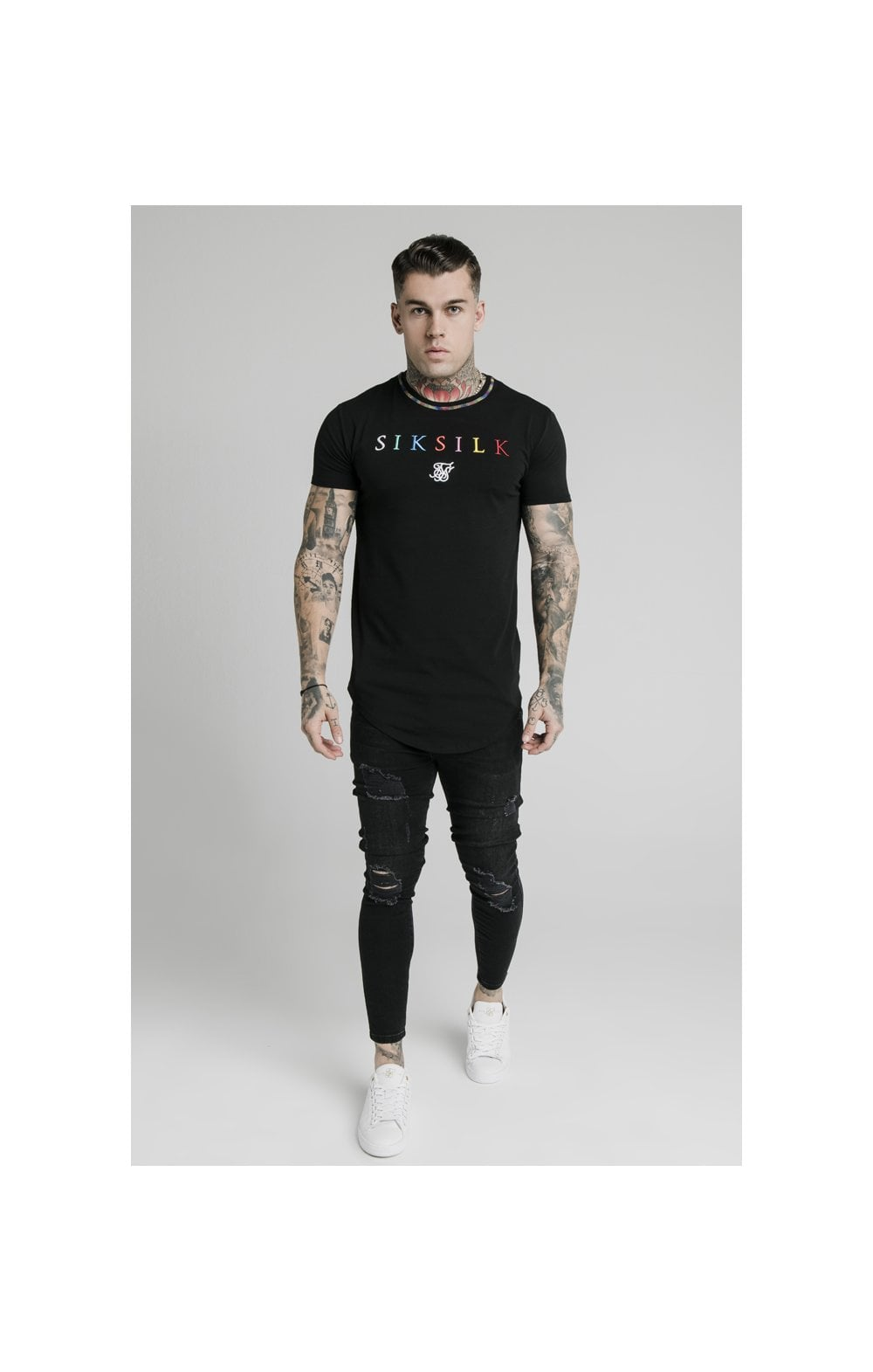 Charger l'image dans la galerie, SikSilk Curved Hem Colours Gym Tee - Black & Multi (3)