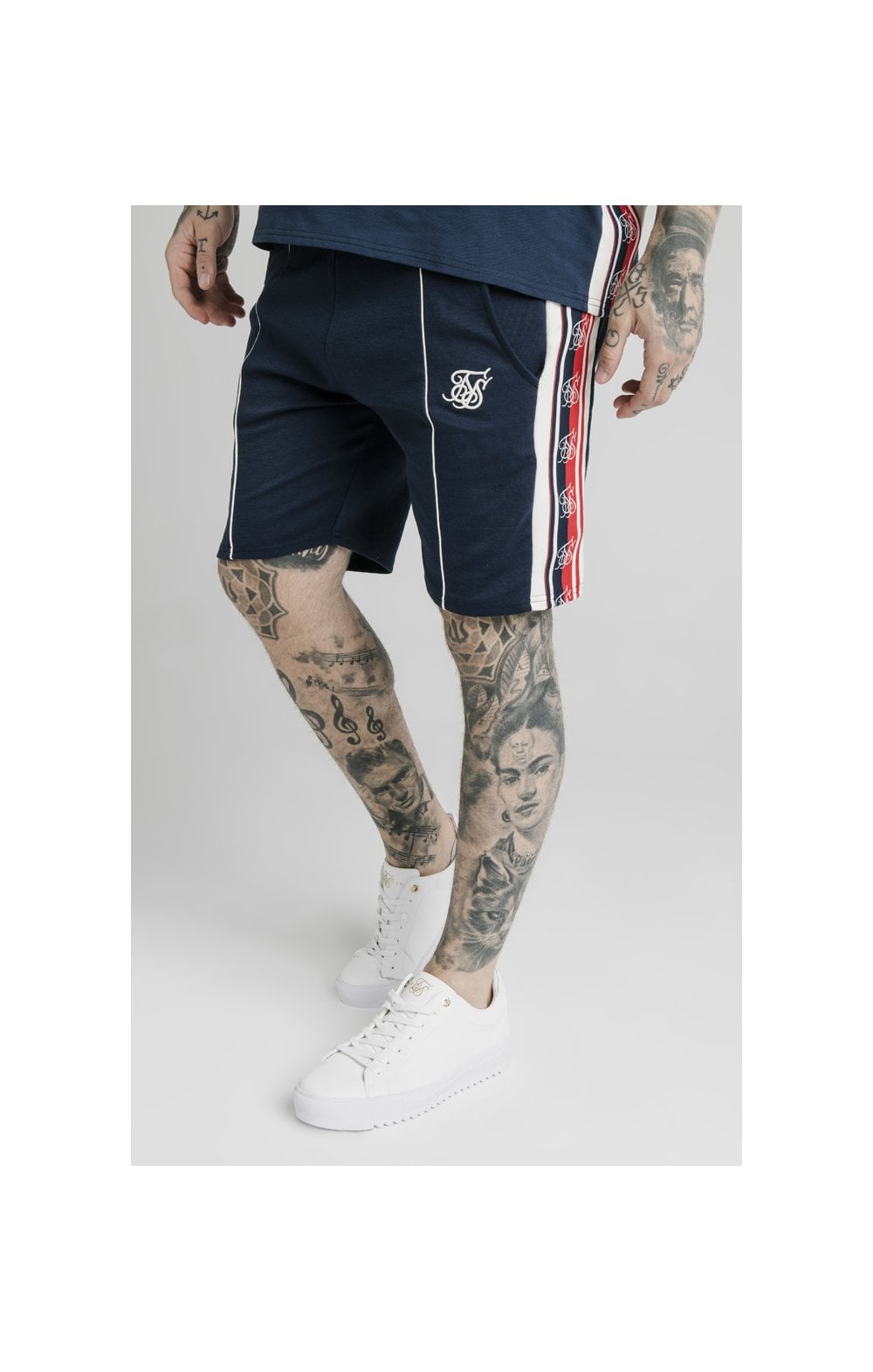SikSilk Retro Tape Relaxed Fit Shorts - Navy