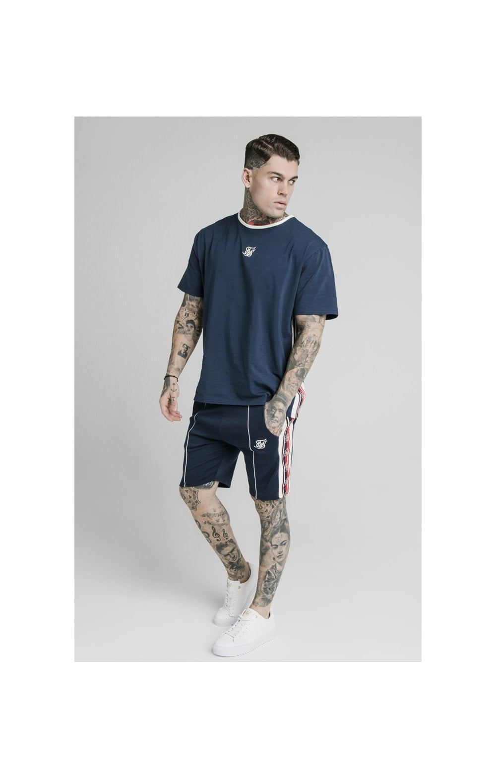 SikSilk Retro Tape Relaxed Fit Shorts - Navy (2)