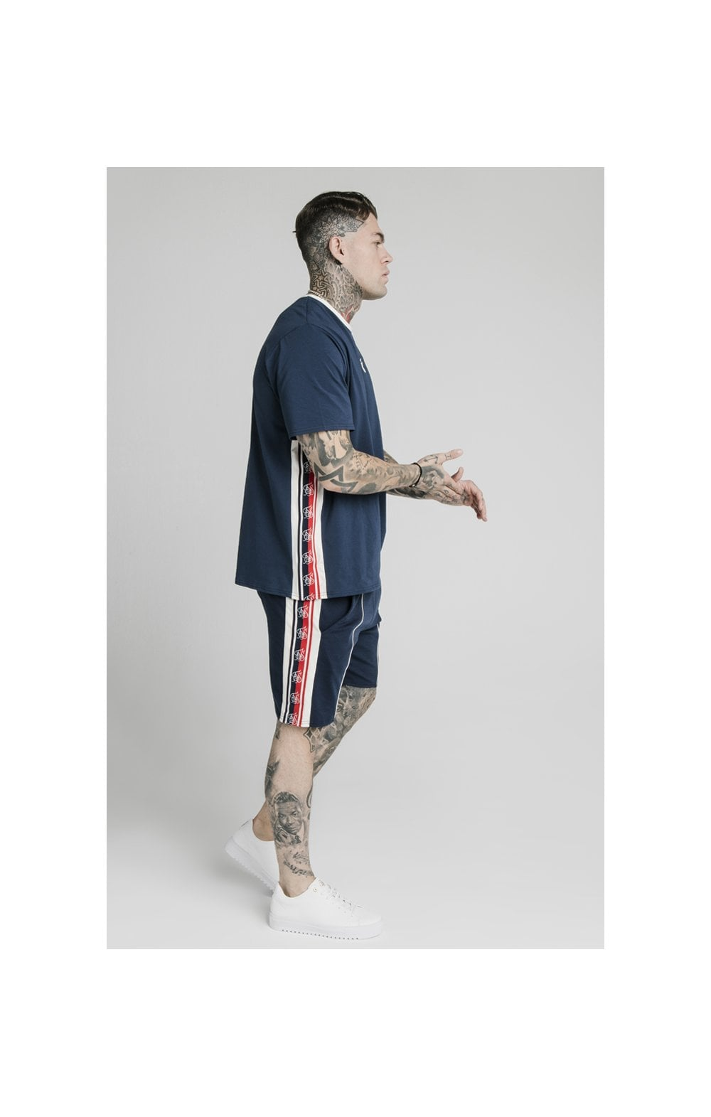 SikSilk Retro Tape Relaxed Fit Shorts - Navy (3)