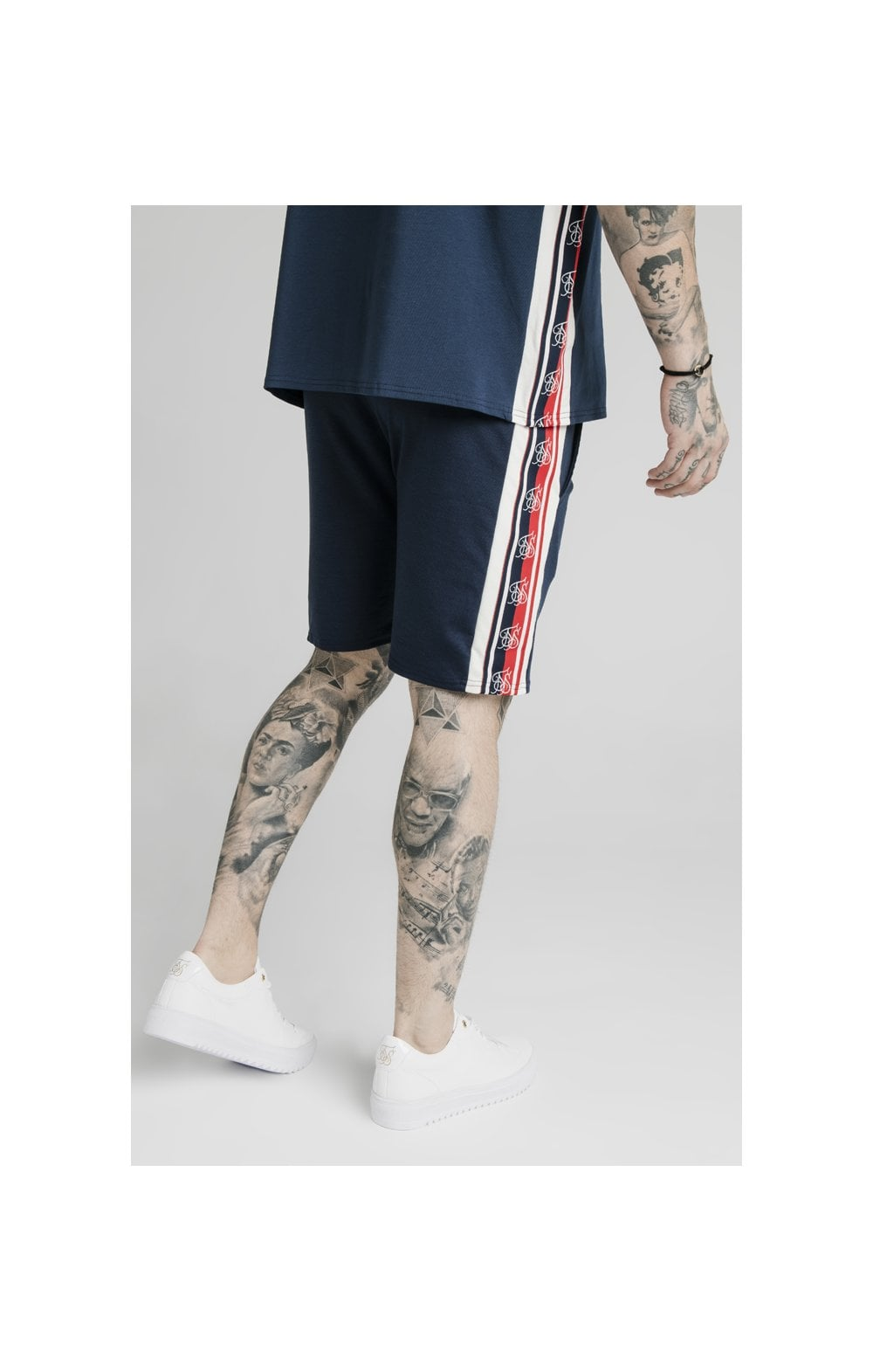 SikSilk Retro Tape Relaxed Fit Shorts - Navy (4)