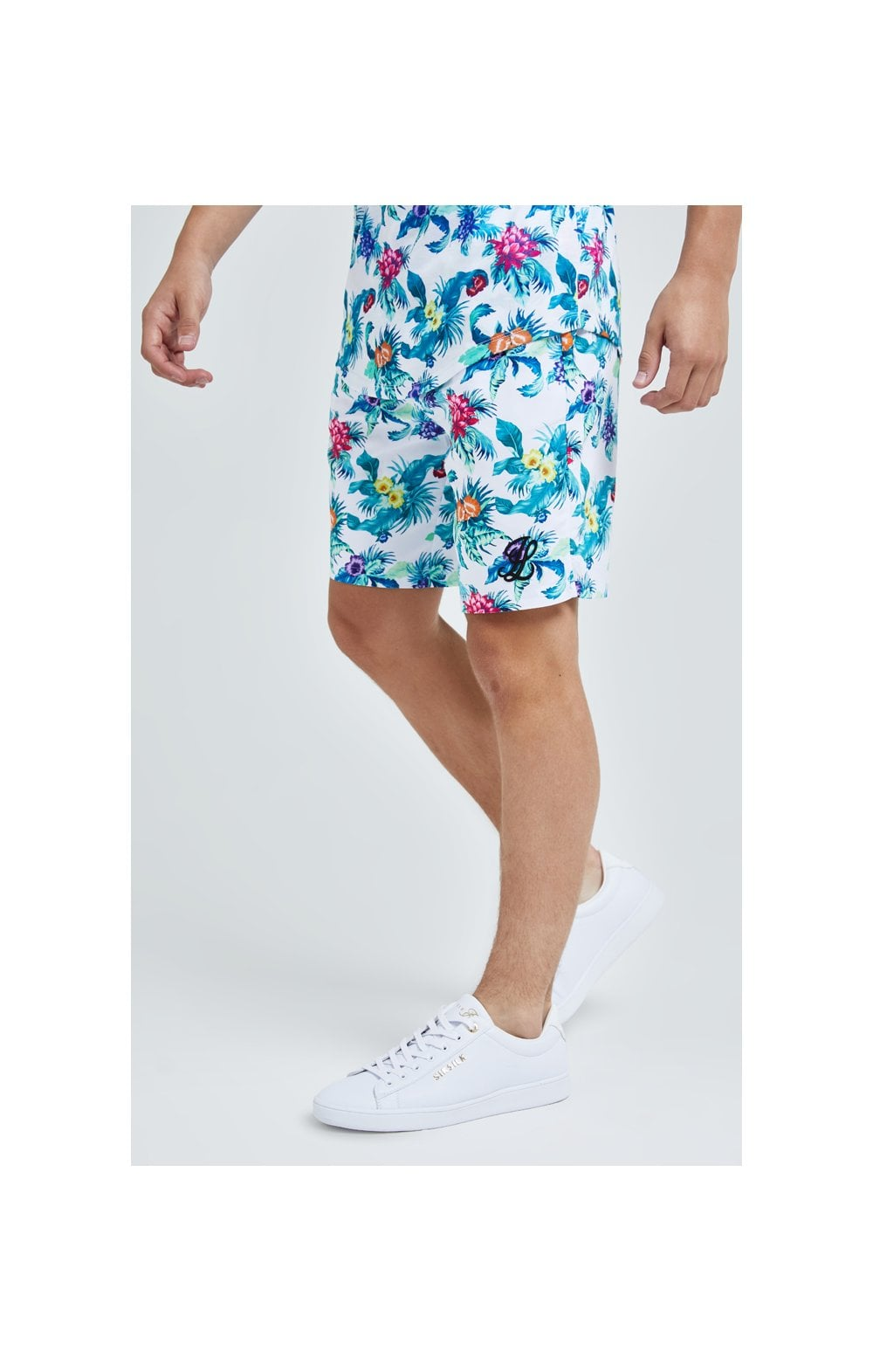 Illusive London Swim Shorts - White & Floral (1)