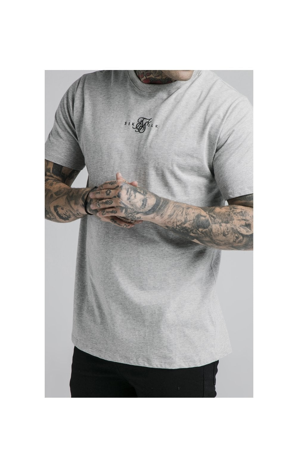 SikSilk S/S Basic Core Tee – Grey Marl (1)
