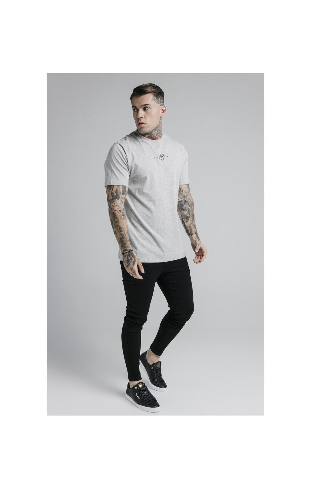 SikSilk S/S Basic Core Tee – Grey Marl (2)