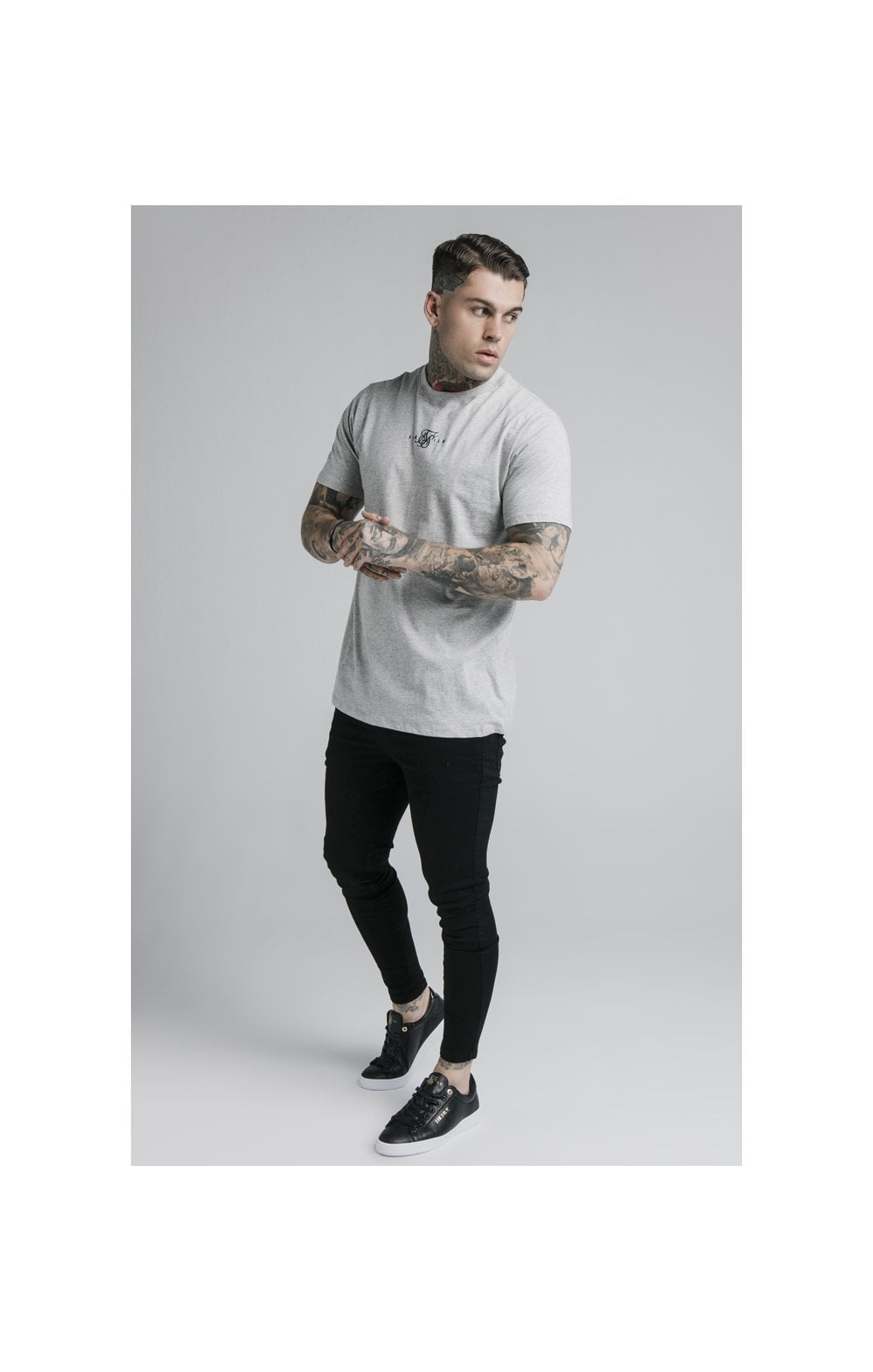 SikSilk S/S Basic Core Tee – Grey Marl (3)