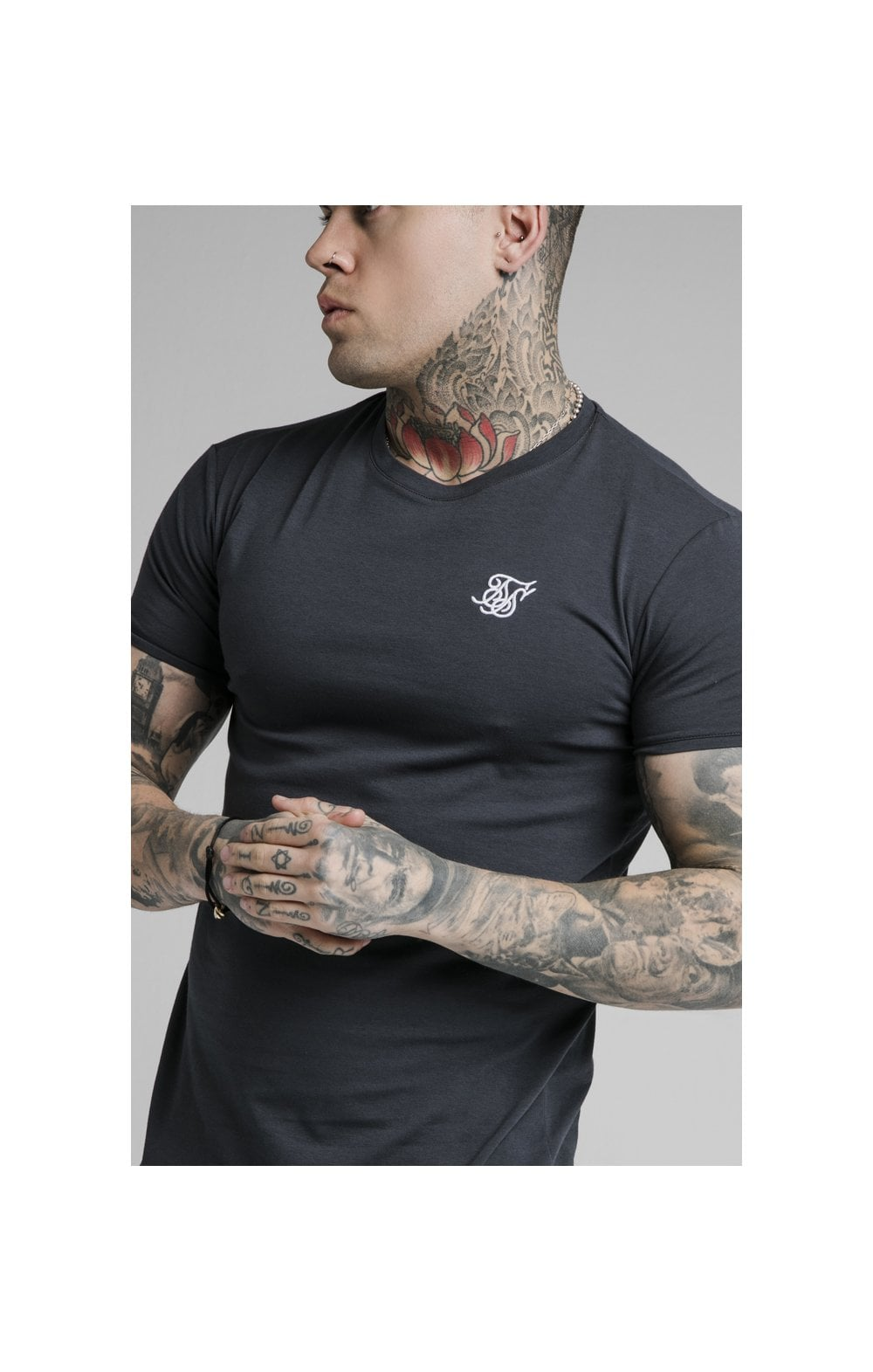 SikSilk Straight Hem Gym Tee - Navy (1)