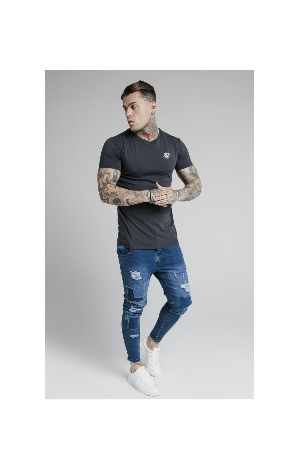 SikSilk Straight Hem Gym Tee - Navy (2)