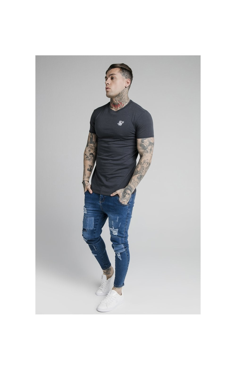 SikSilk Straight Hem Gym Tee - Navy (3)