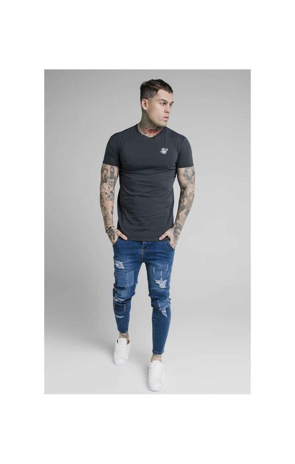 SikSilk Straight Hem Gym Tee - Navy (4)