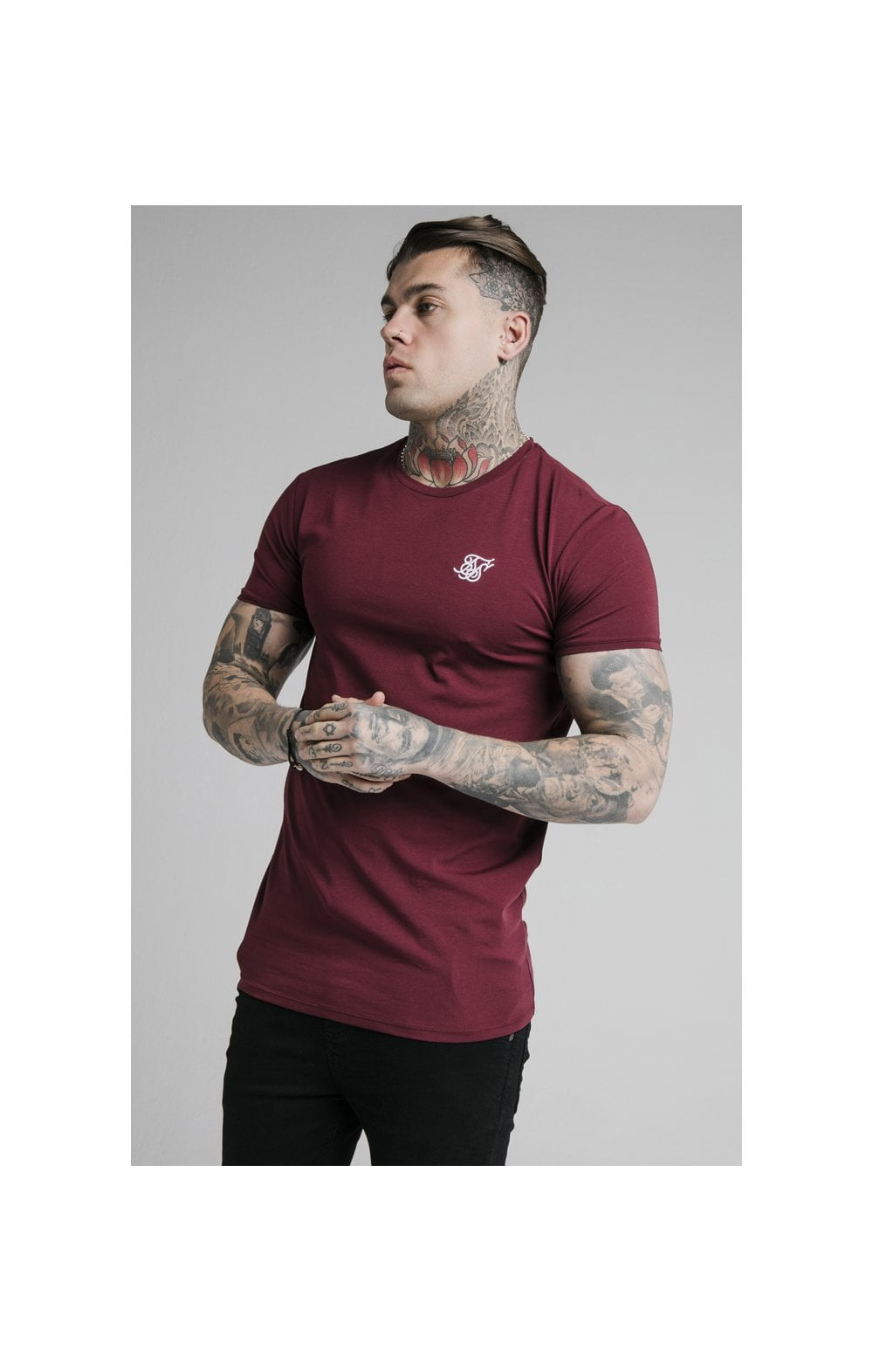 SikSilk Straight Hem Gym Tee - Burgundy