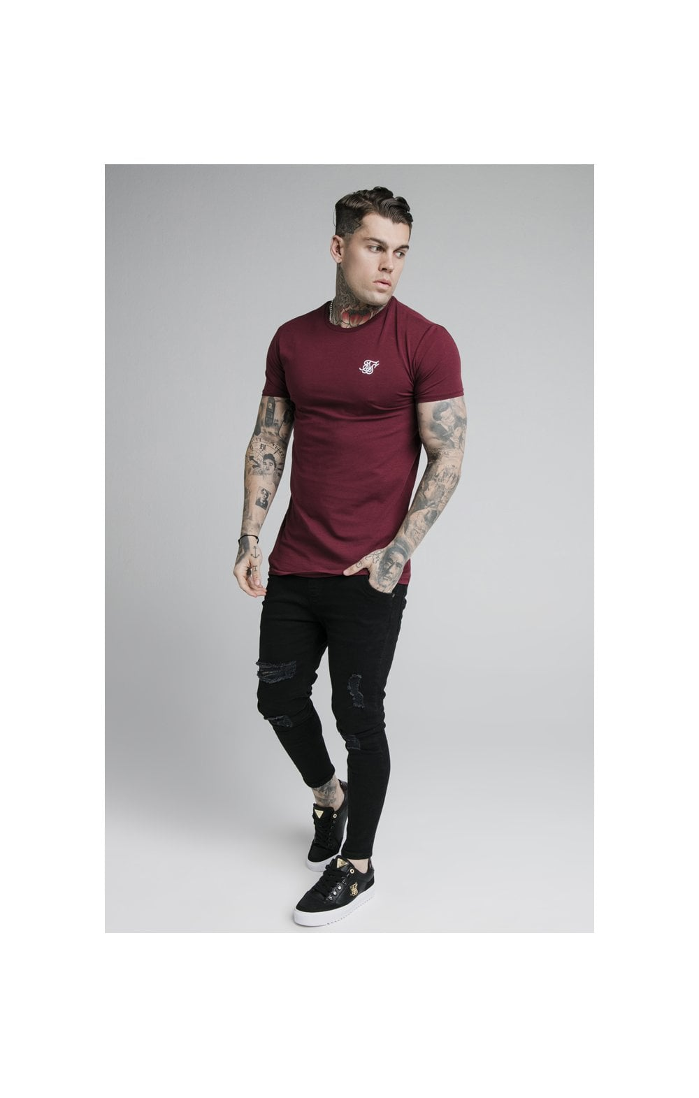 SikSilk Straight Hem Gym Tee - Burgundy (3)