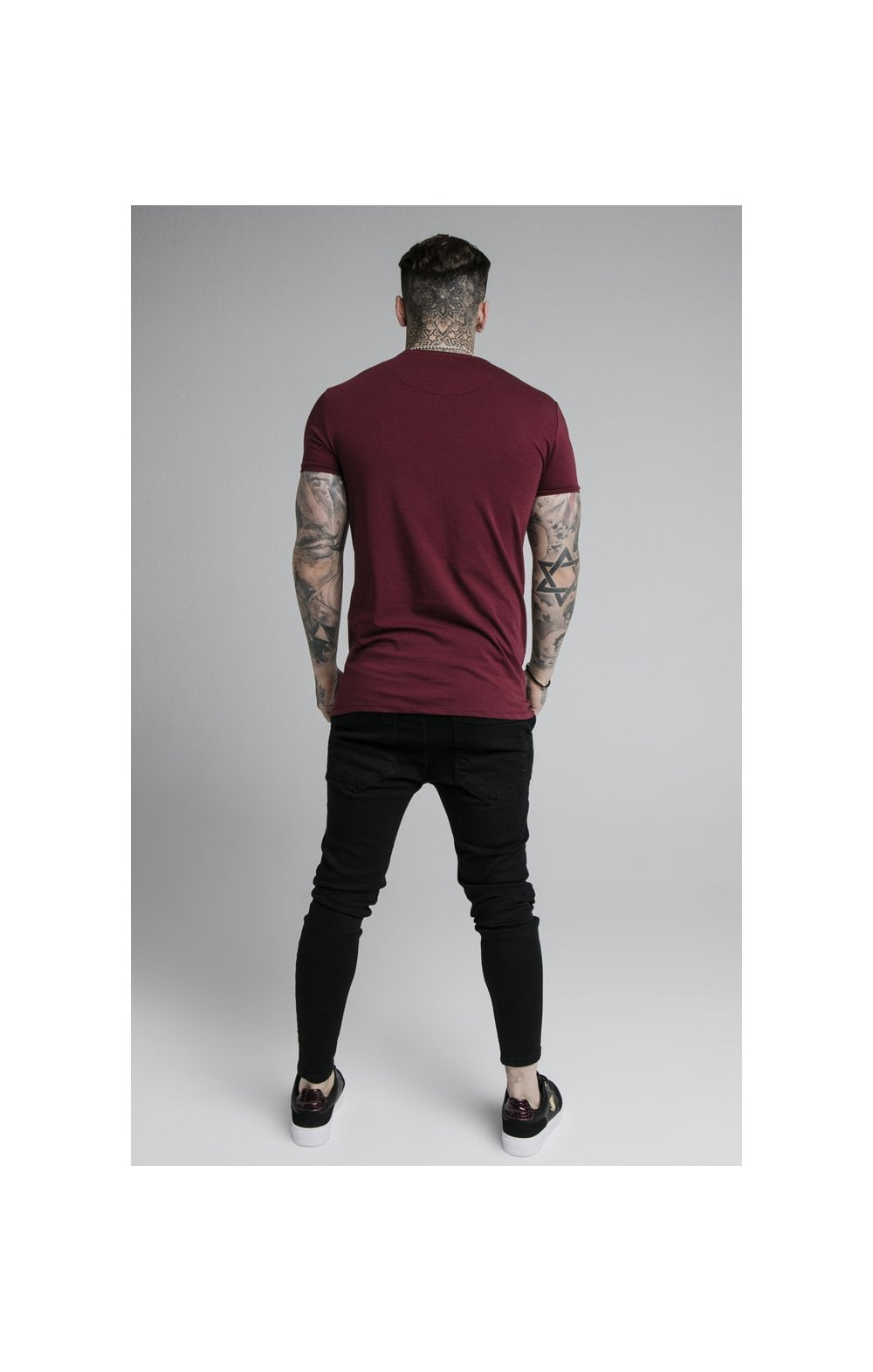 SikSilk Straight Hem Gym Tee - Burgundy (4)