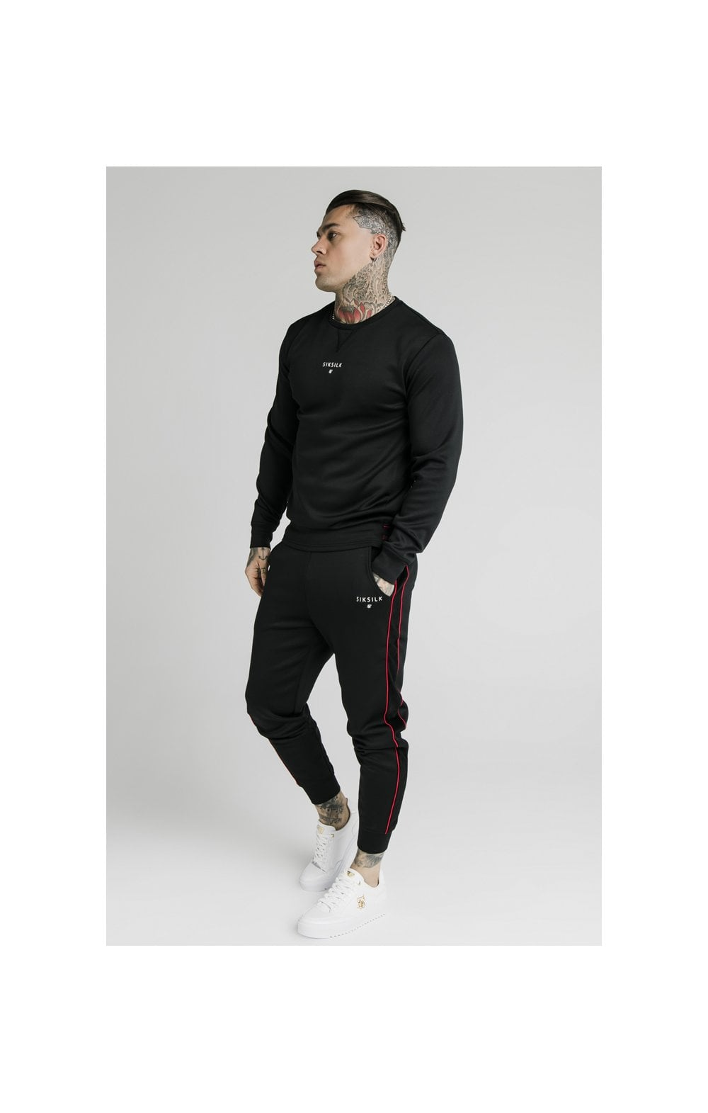 SikSilk Imperial Crew Neck Sweater - Black (2)