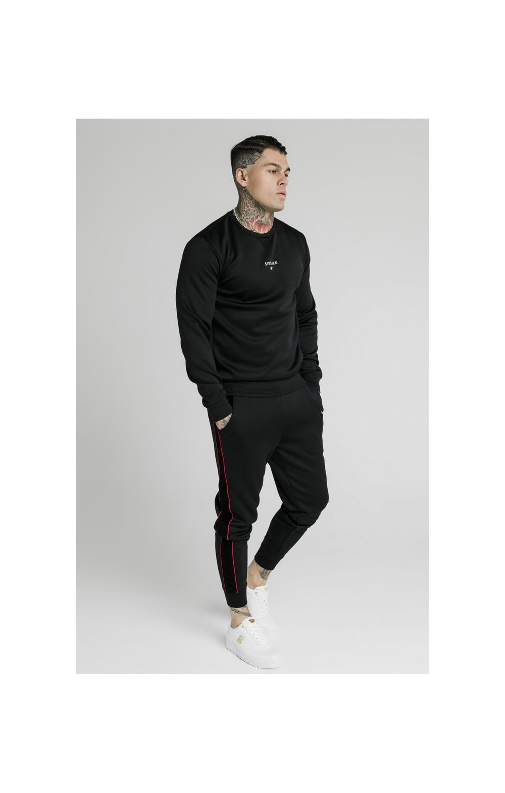 SikSilk Imperial Crew Neck Sweater - Black (4)