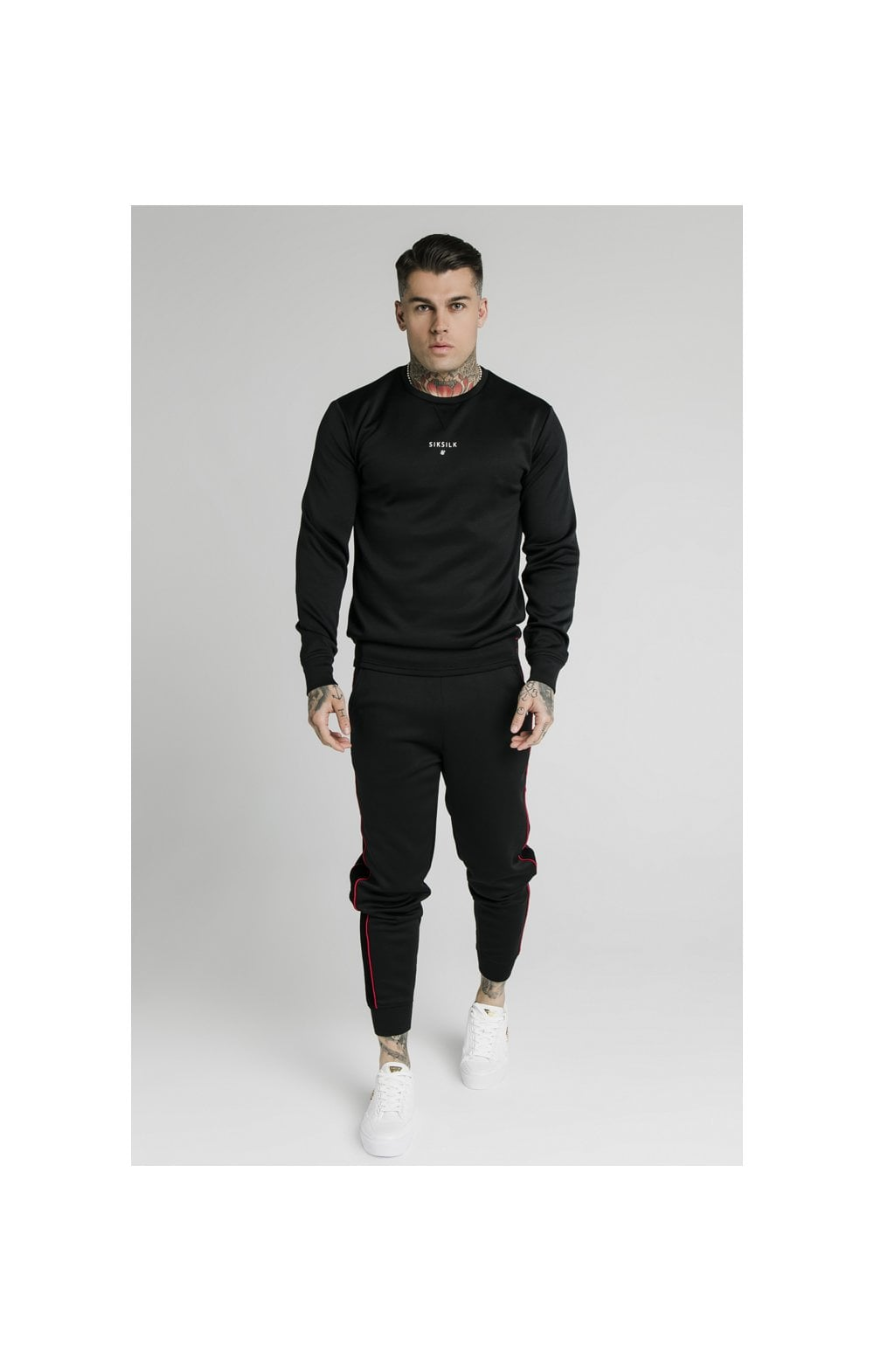 SikSilk Imperial Crew Neck Sweater - Black (5)