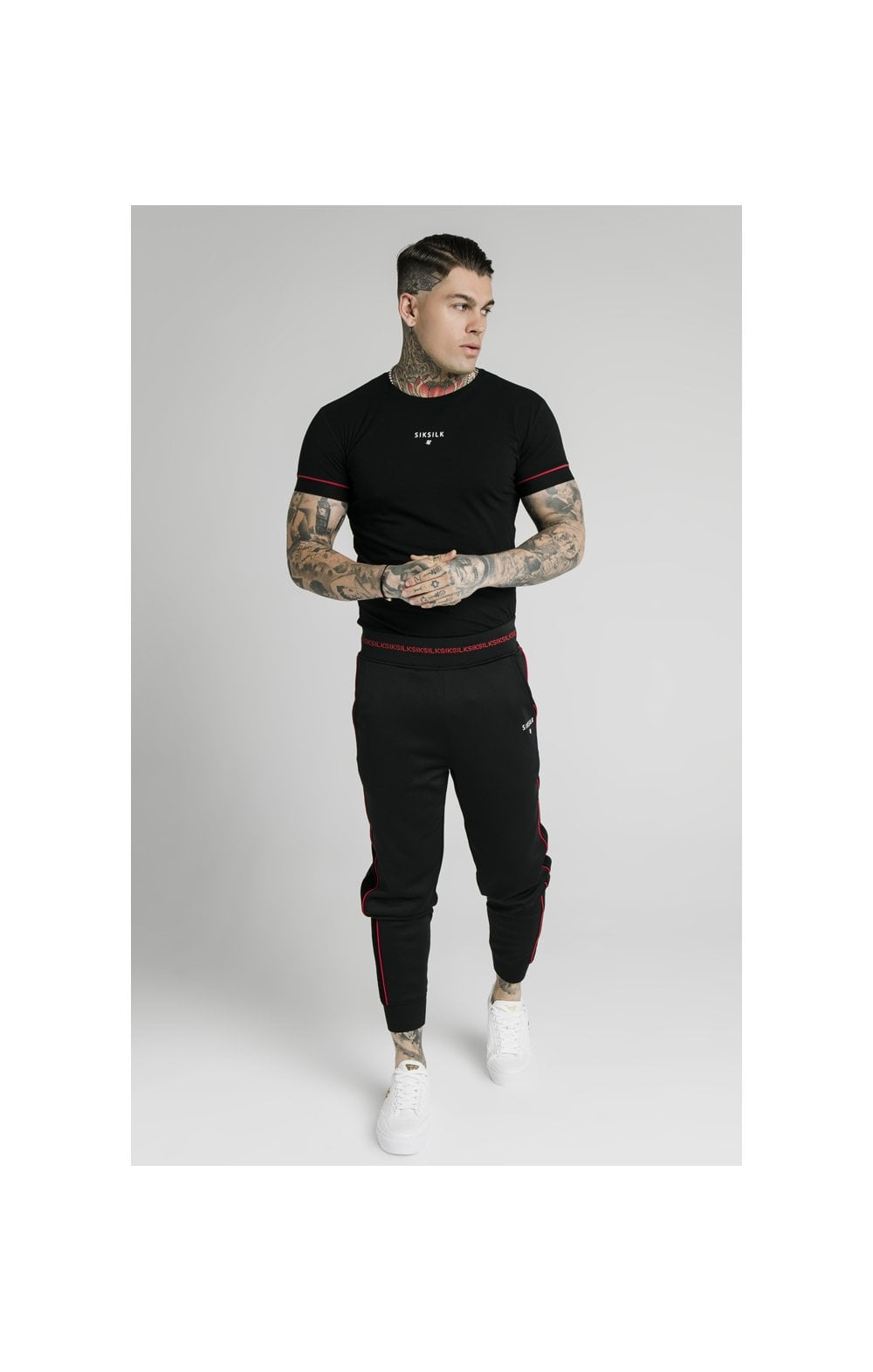 SikSilk Imperial Straight Tech Tee - Black & Red (2)