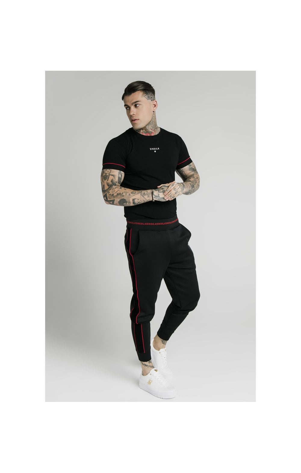 SikSilk Imperial Straight Tech Tee - Black & Red (3)