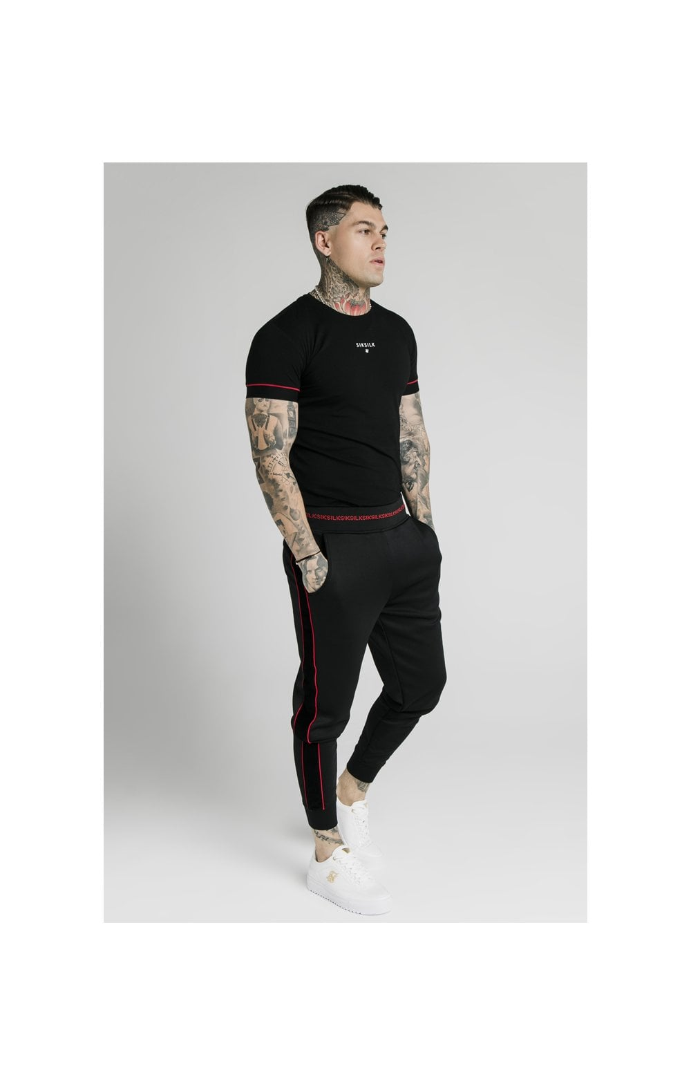 SikSilk Imperial Straight Tech Tee - Black & Red (4)