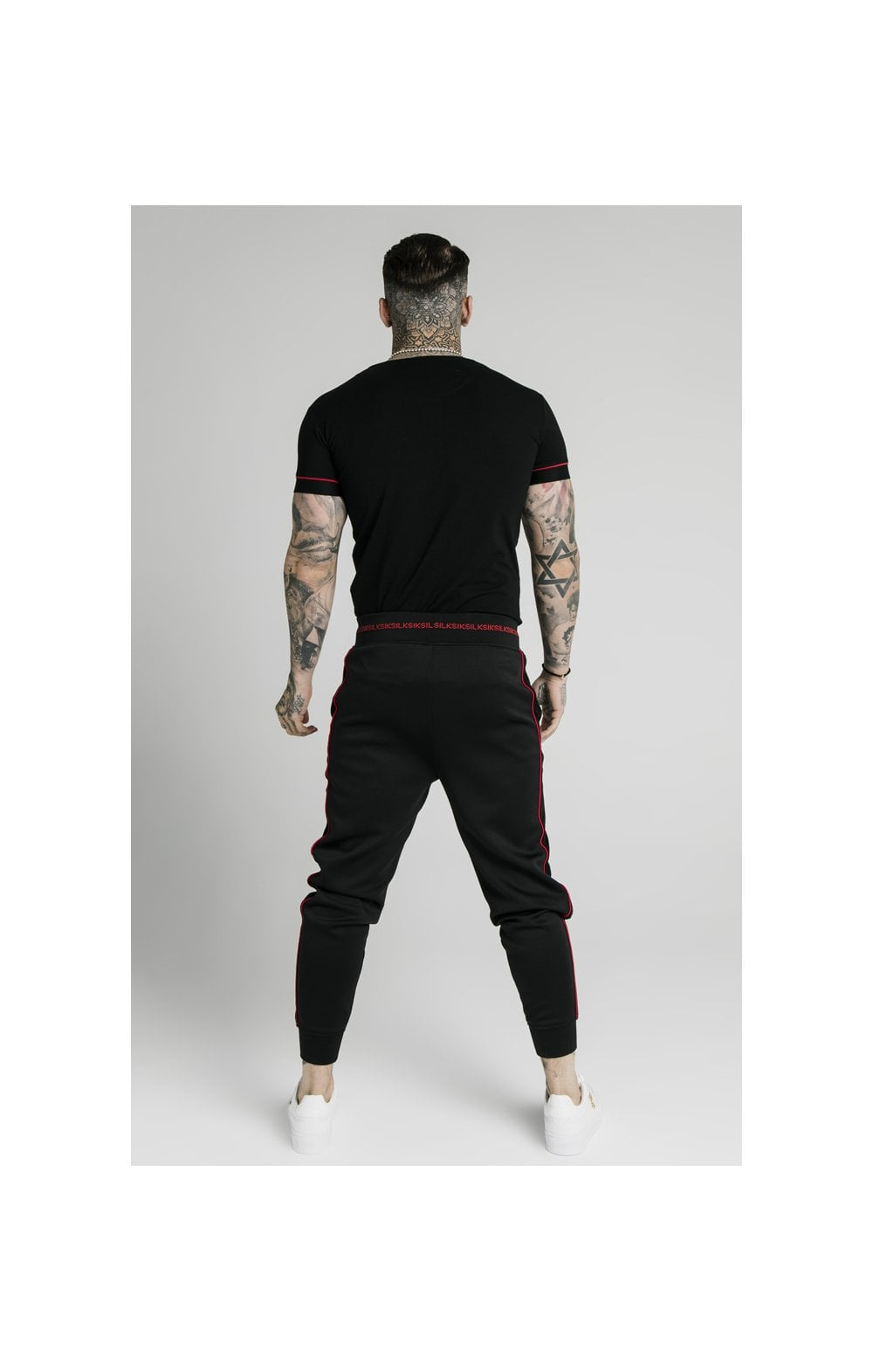 SikSilk Imperial Straight Tech Tee - Black & Red (5)