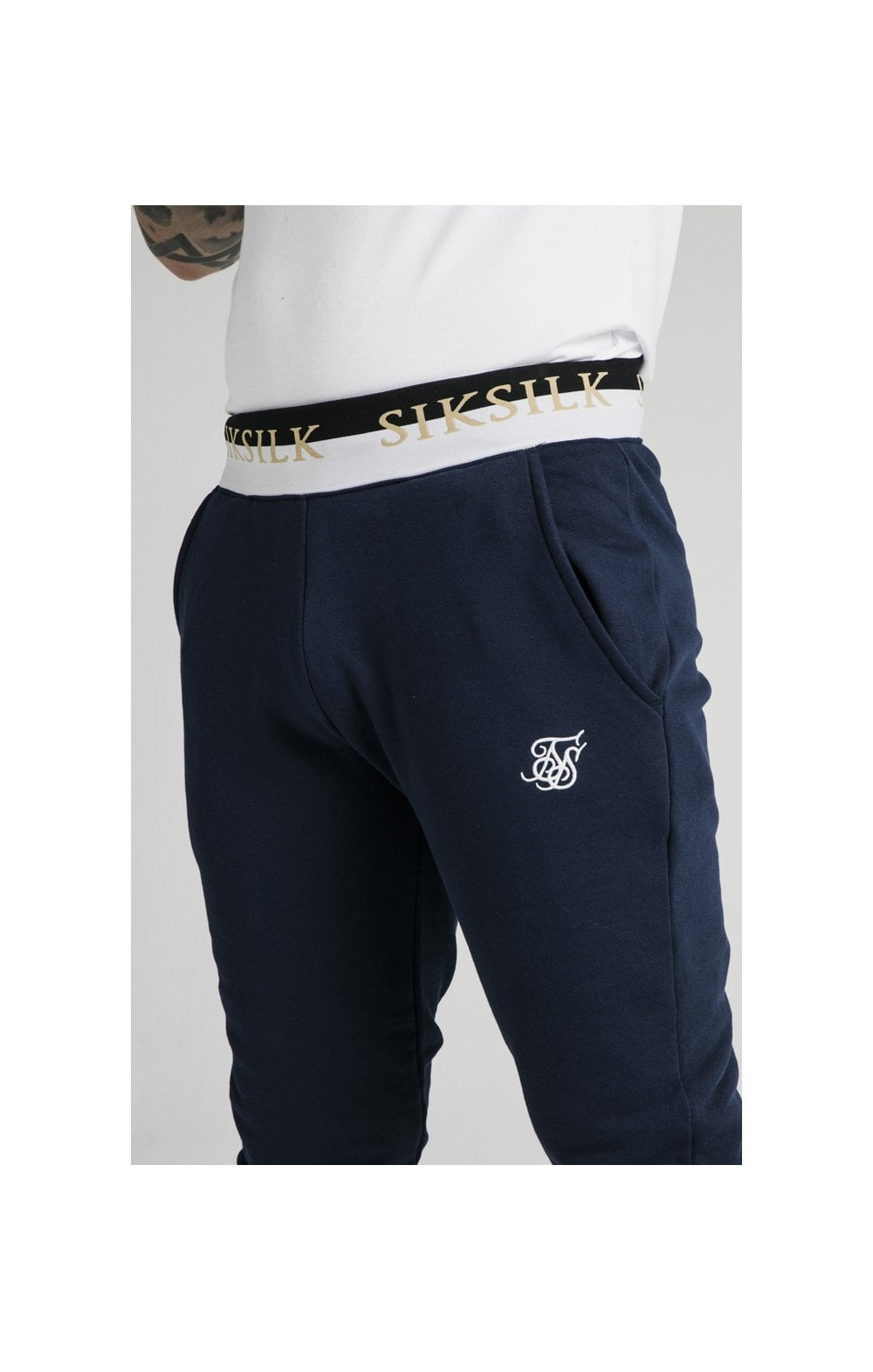 SikSilk Deluxe Fitted Jogger - Navy (1)