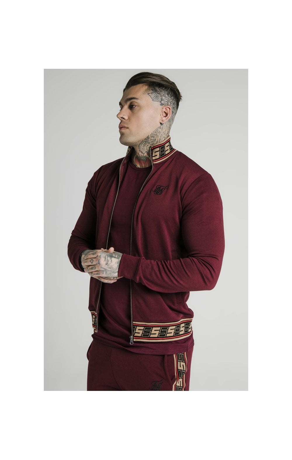 SikSilk Jacquard Retro Zip Through - Burgundy