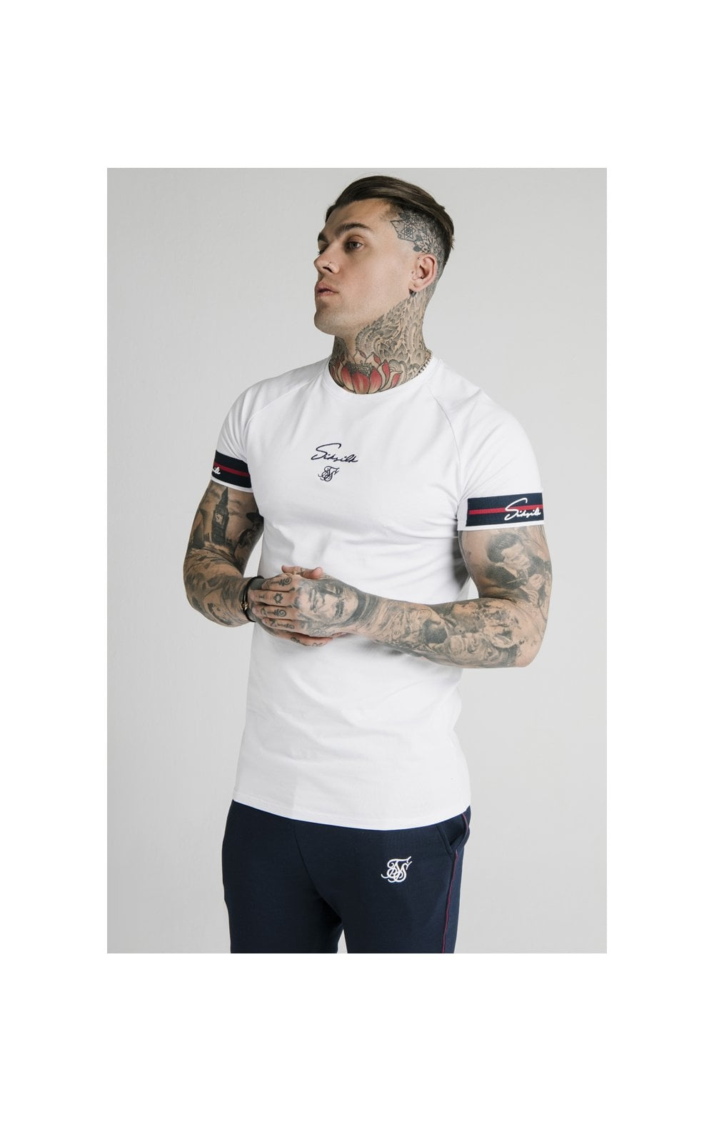SikSilk Raglan Tech Tee Exposed Tape - White