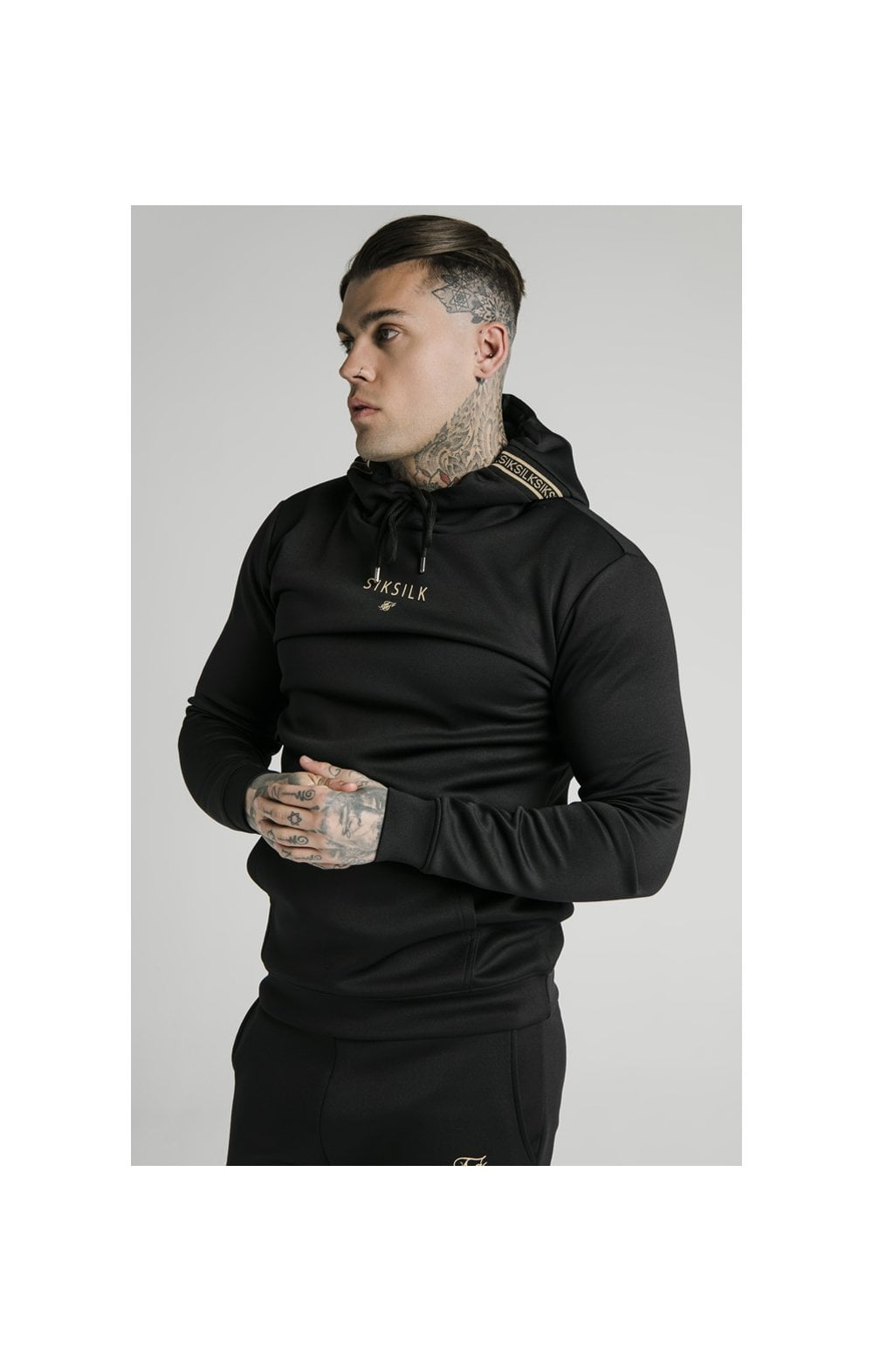 SikSilk Element Muscle Fit Overhead Hoodie - Black & Gold