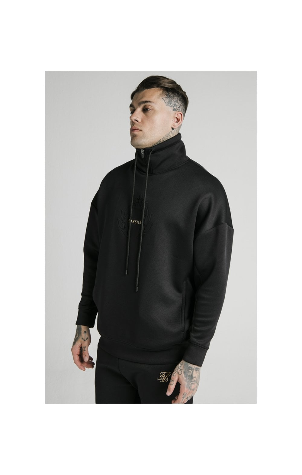 SikSilk Element Quarter Zip Hoodie – Black & Gold
