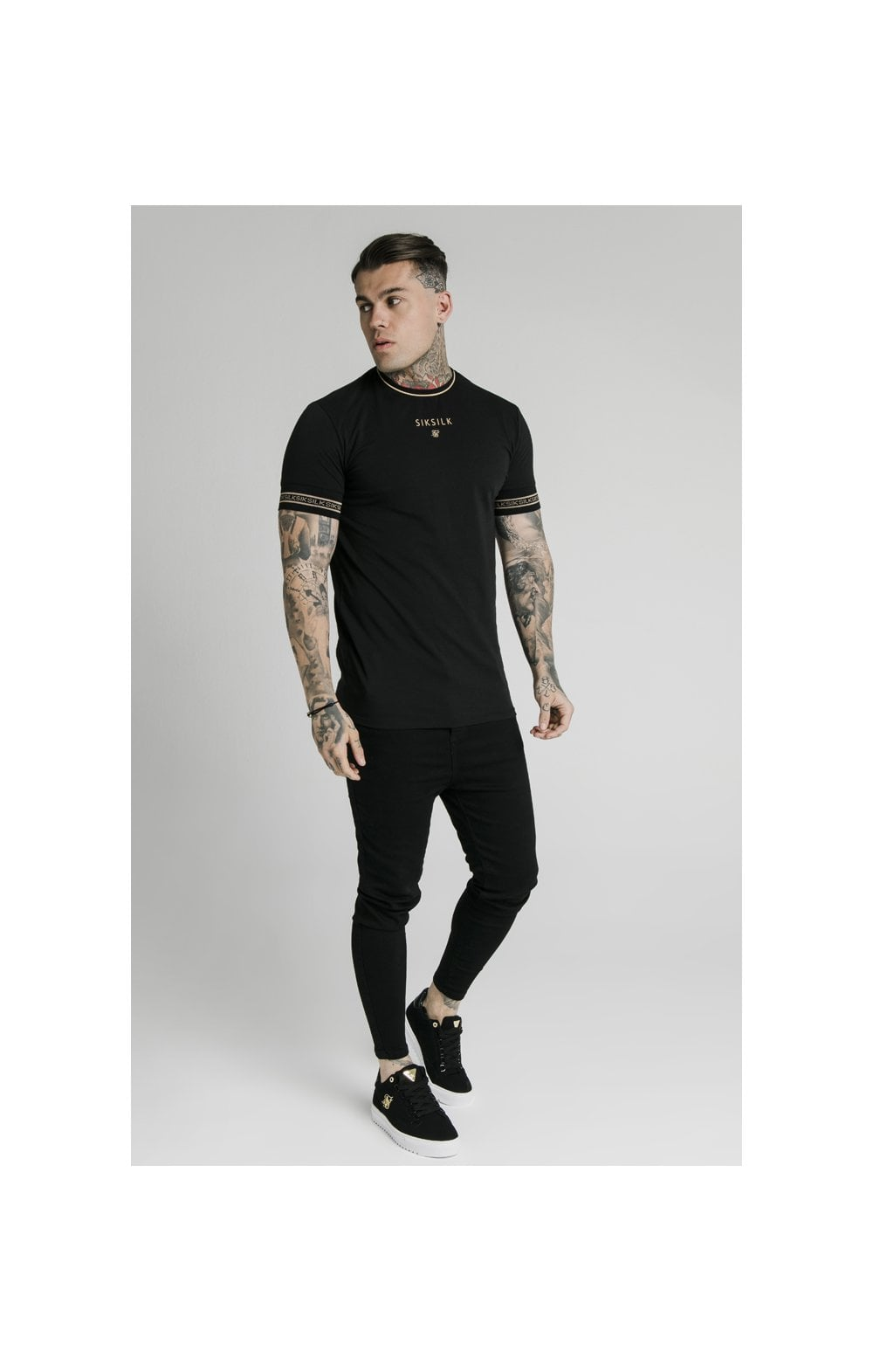 SikSilk Element Straight Hem Gym Tee – Black & Gold (2)