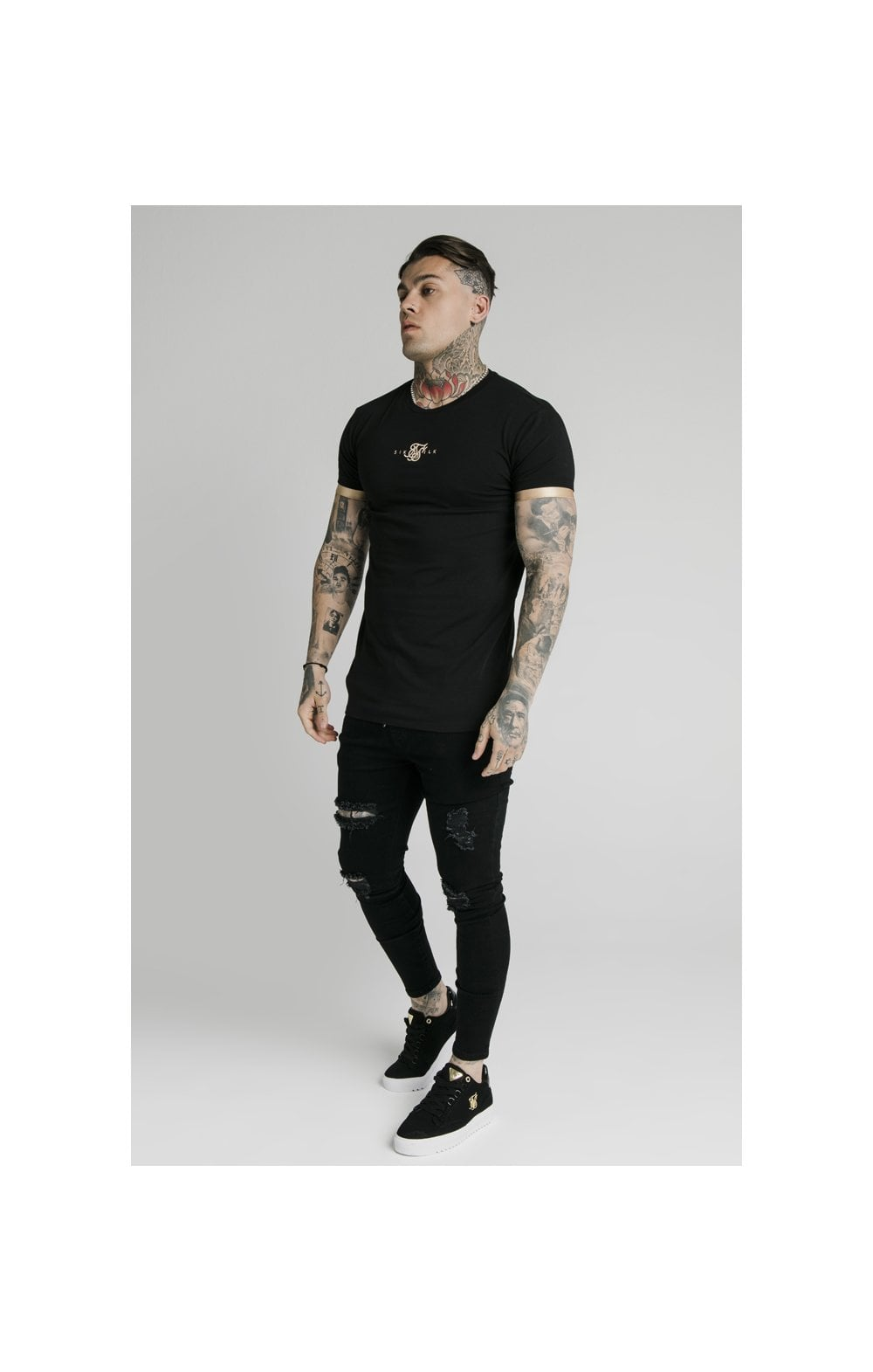 SikSilk S/S Inset Cuff Gym Tee – Black & Gold (5)