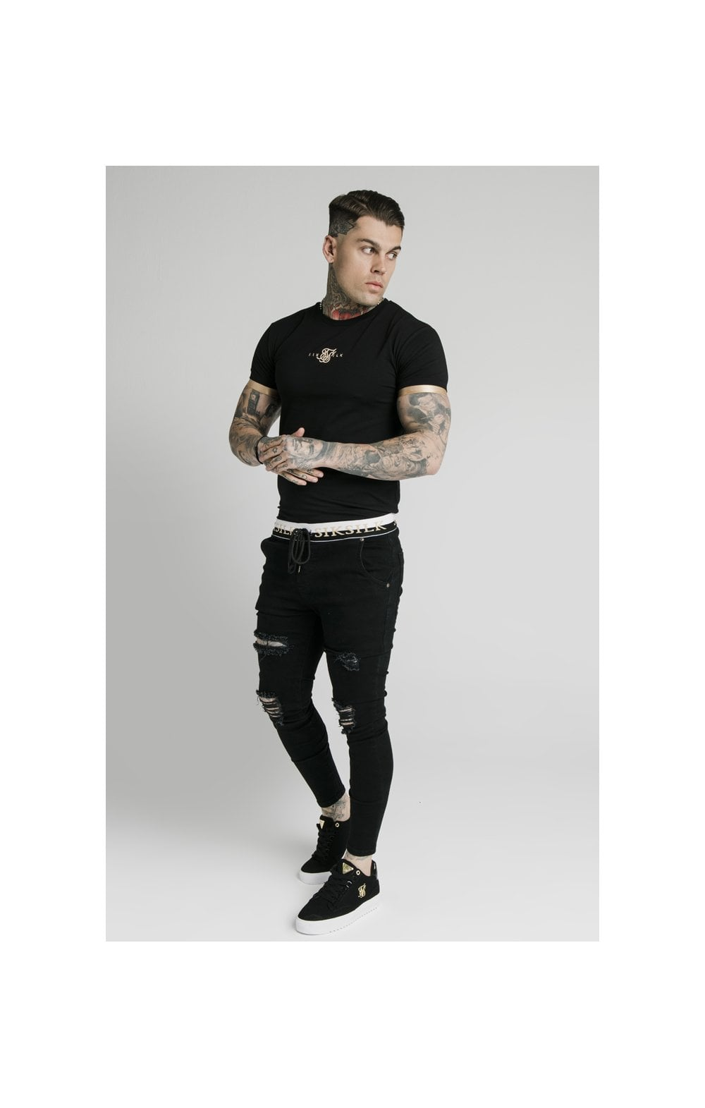 SikSilk S/S Inset Cuff Gym Tee – Black & Gold (7)
