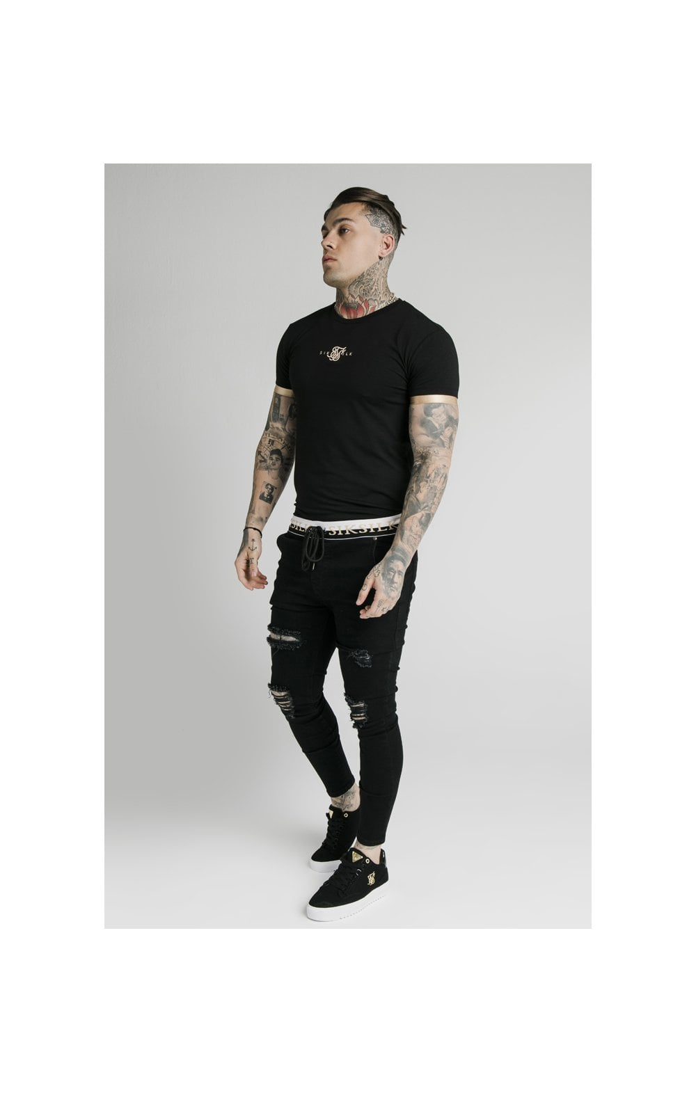 SikSilk S/S Inset Cuff Gym Tee – Black & Gold (8)