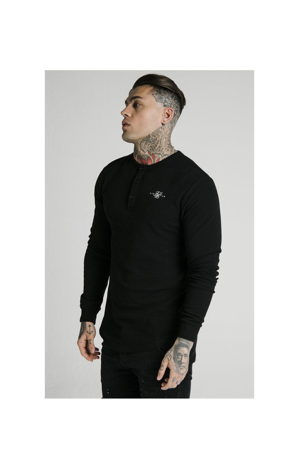 SikSilk Long Sleeve Button Down Tee – Black