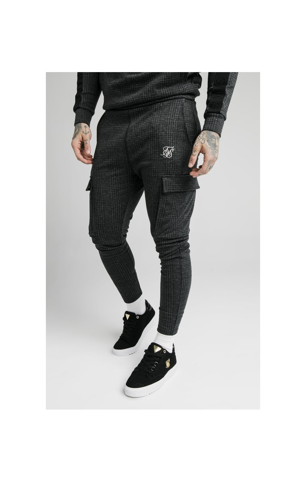 SikSilk Tonal Check Cargo Pant – Grey