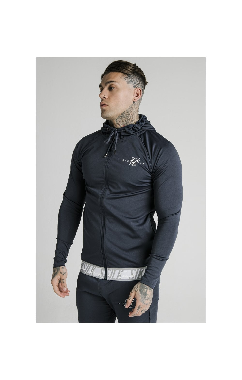 SikSilk Scope Tape Zip Through Hoodie – Navy