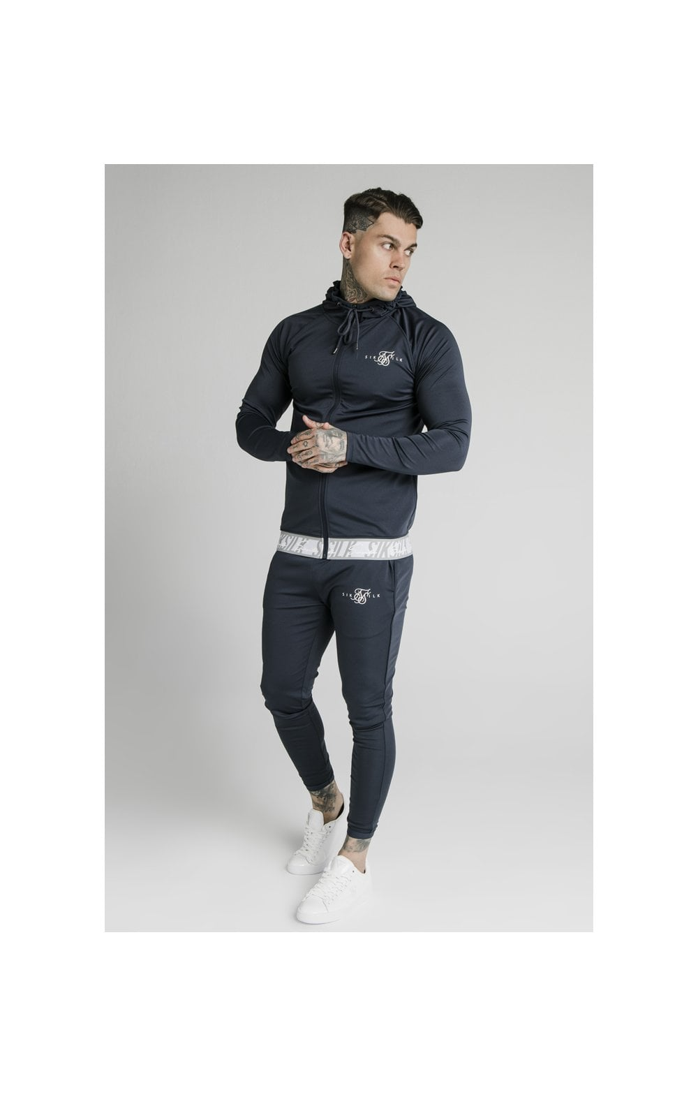 SikSilk Scope Tape Zip Through Hoodie – Navy (4)