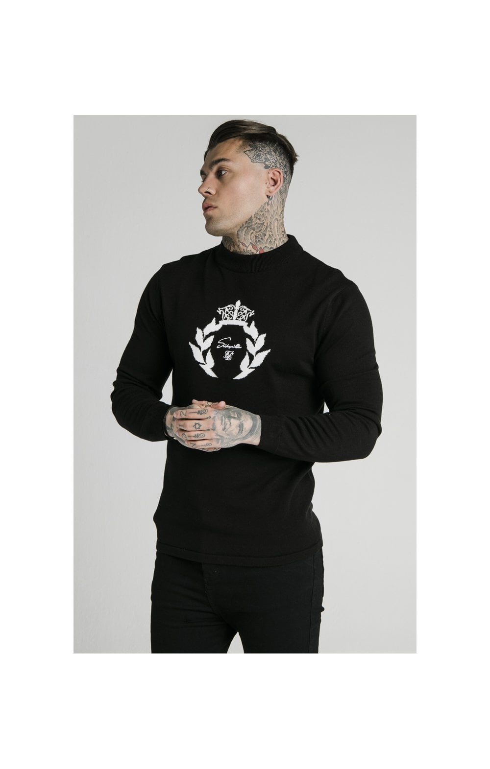 SikSilk High Neck Knitted Prestige Sweater – Black