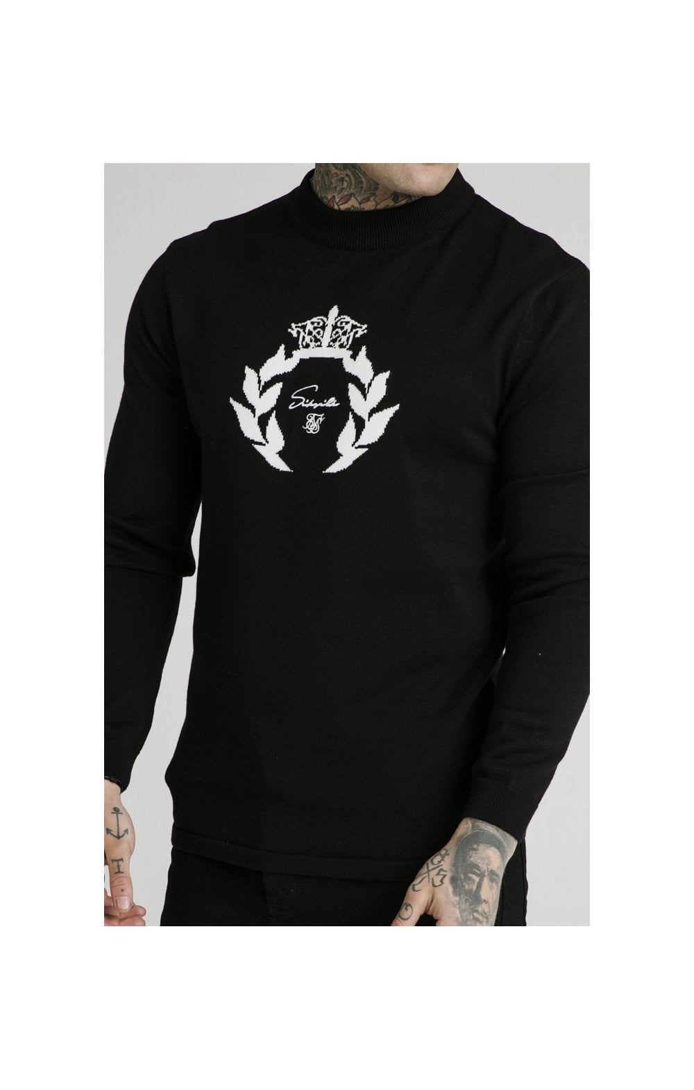 SikSilk High Neck Knitted Prestige Sweater – Black (1)