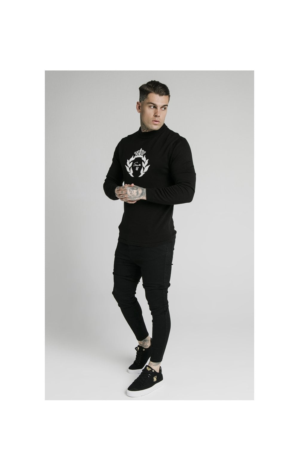 SikSilk High Neck Knitted Prestige Sweater – Black (2)