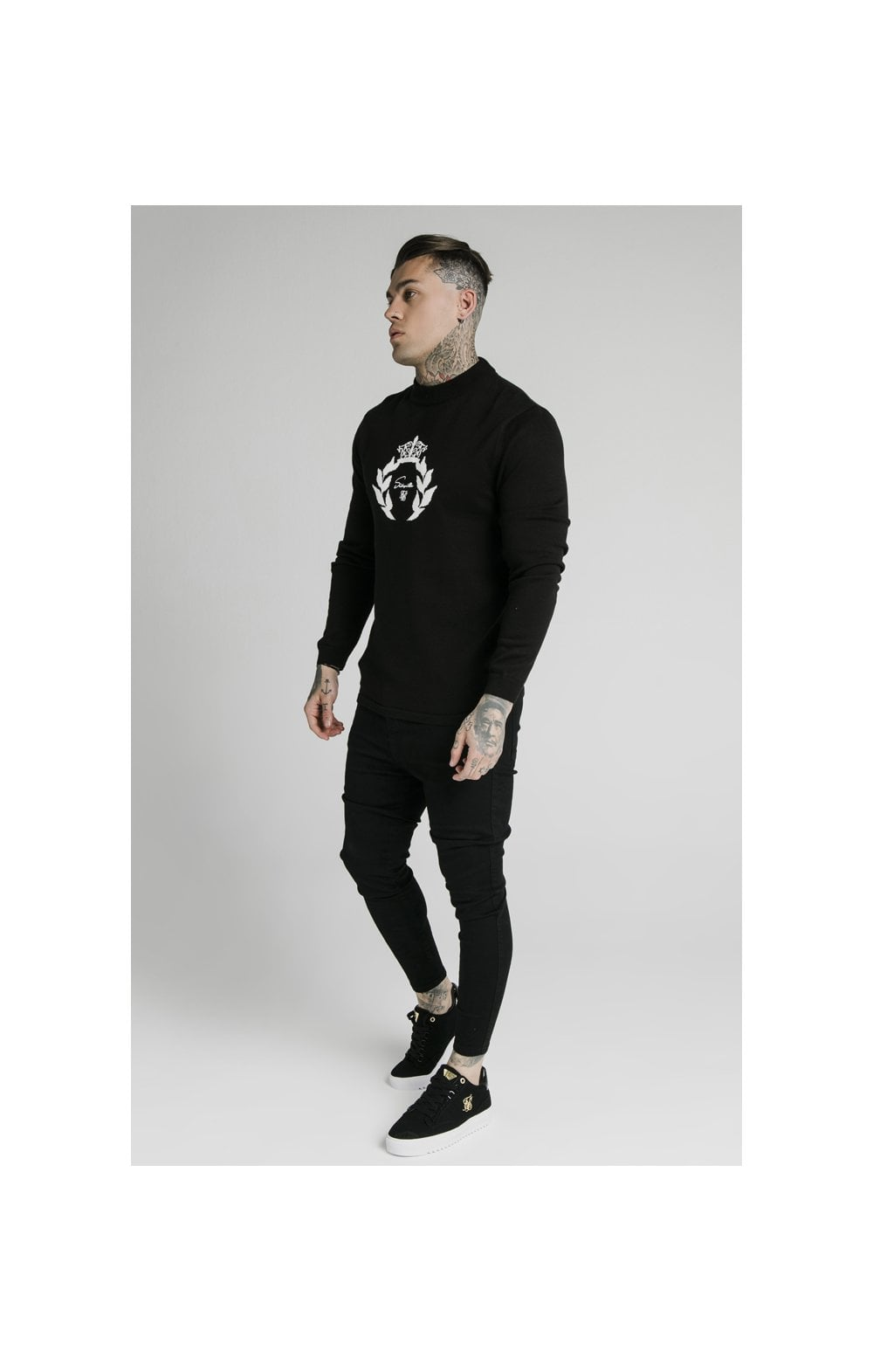 SikSilk High Neck Knitted Prestige Sweater – Black (3)