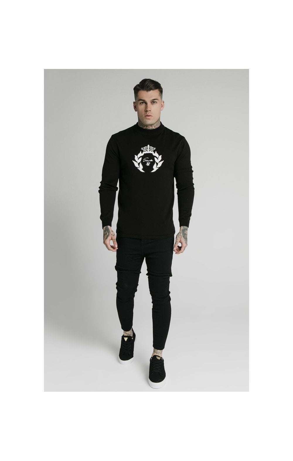 SikSilk High Neck Knitted Prestige Sweater – Black (4)