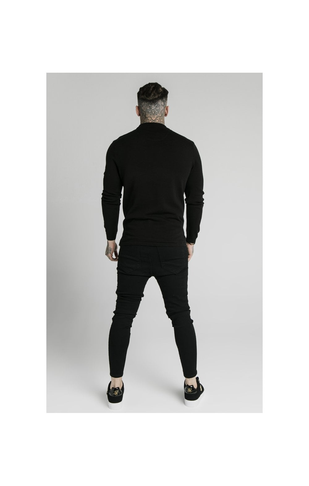 SikSilk High Neck Knitted Prestige Sweater – Black (5)