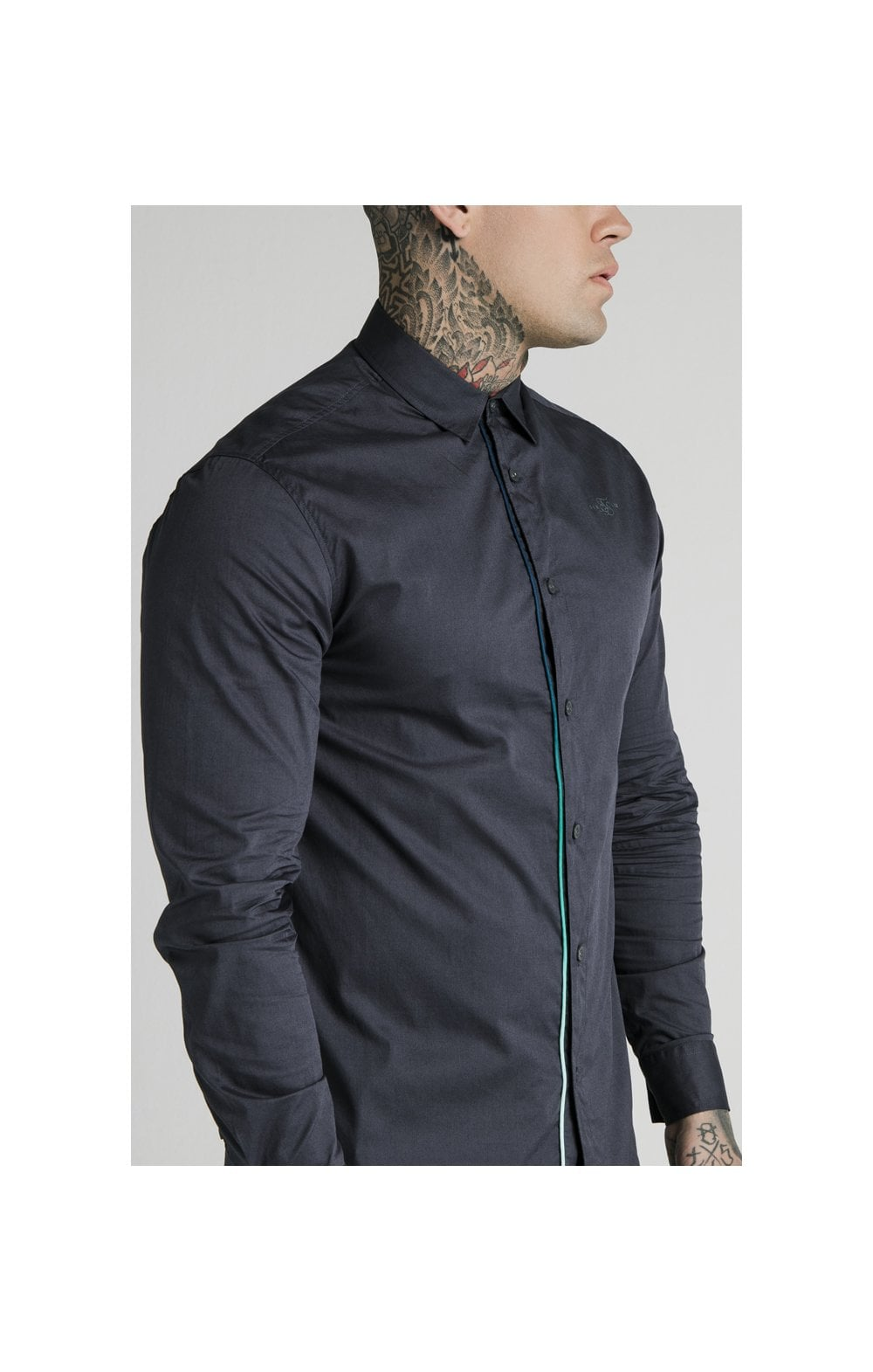 SikSilk L/S Fade Piping Shirt - Navy (2)
