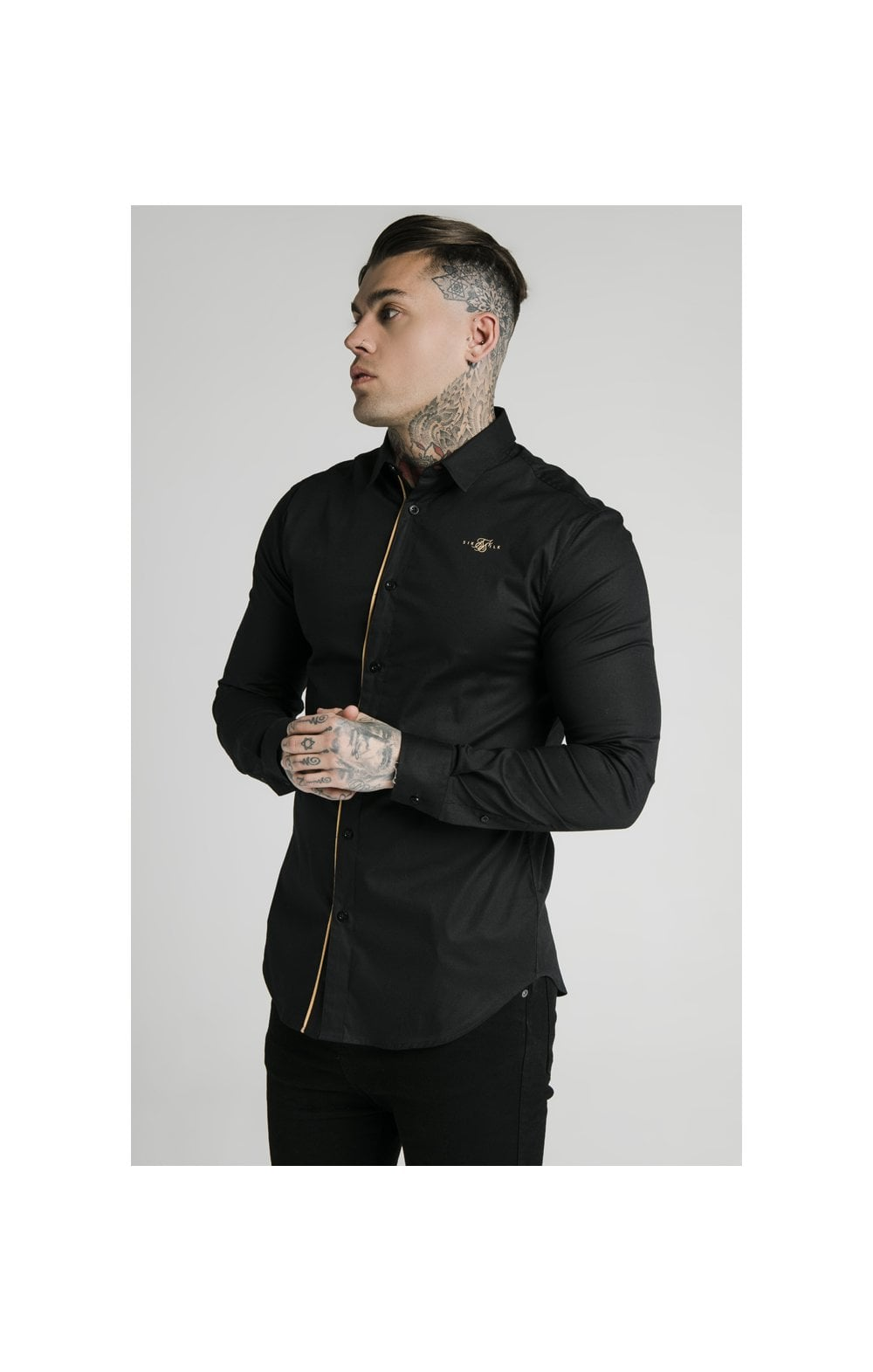 Charger l'image dans la galerie, SikSilk L/S Fade Piping Shirt - Black & Gold