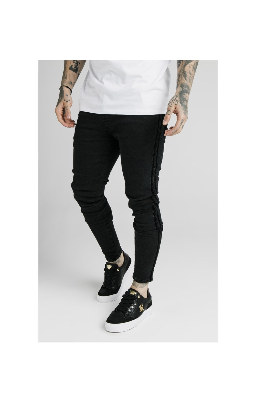 SikSilk Skinny Velour Stripe Denims – Black