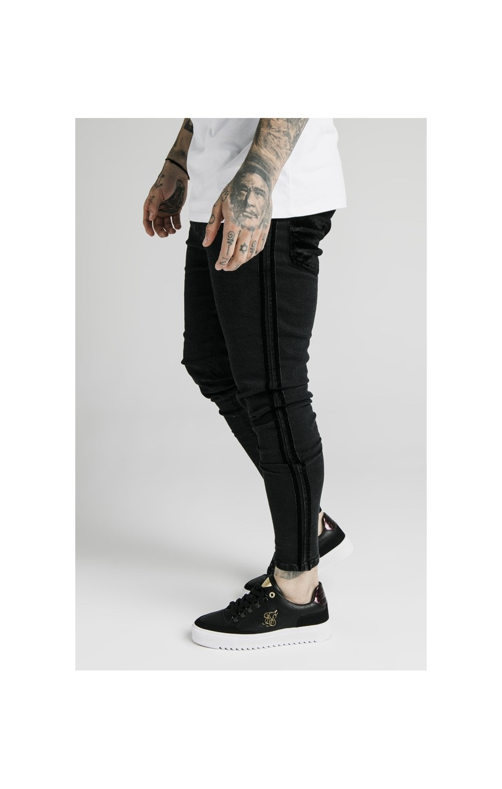 SikSilk Skinny Velour Stripe Denims – Black (1)