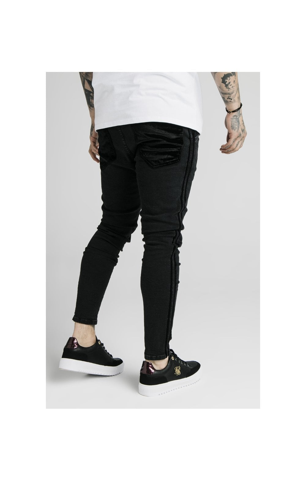 SikSilk Skinny Velour Stripe Denims – Black (2)
