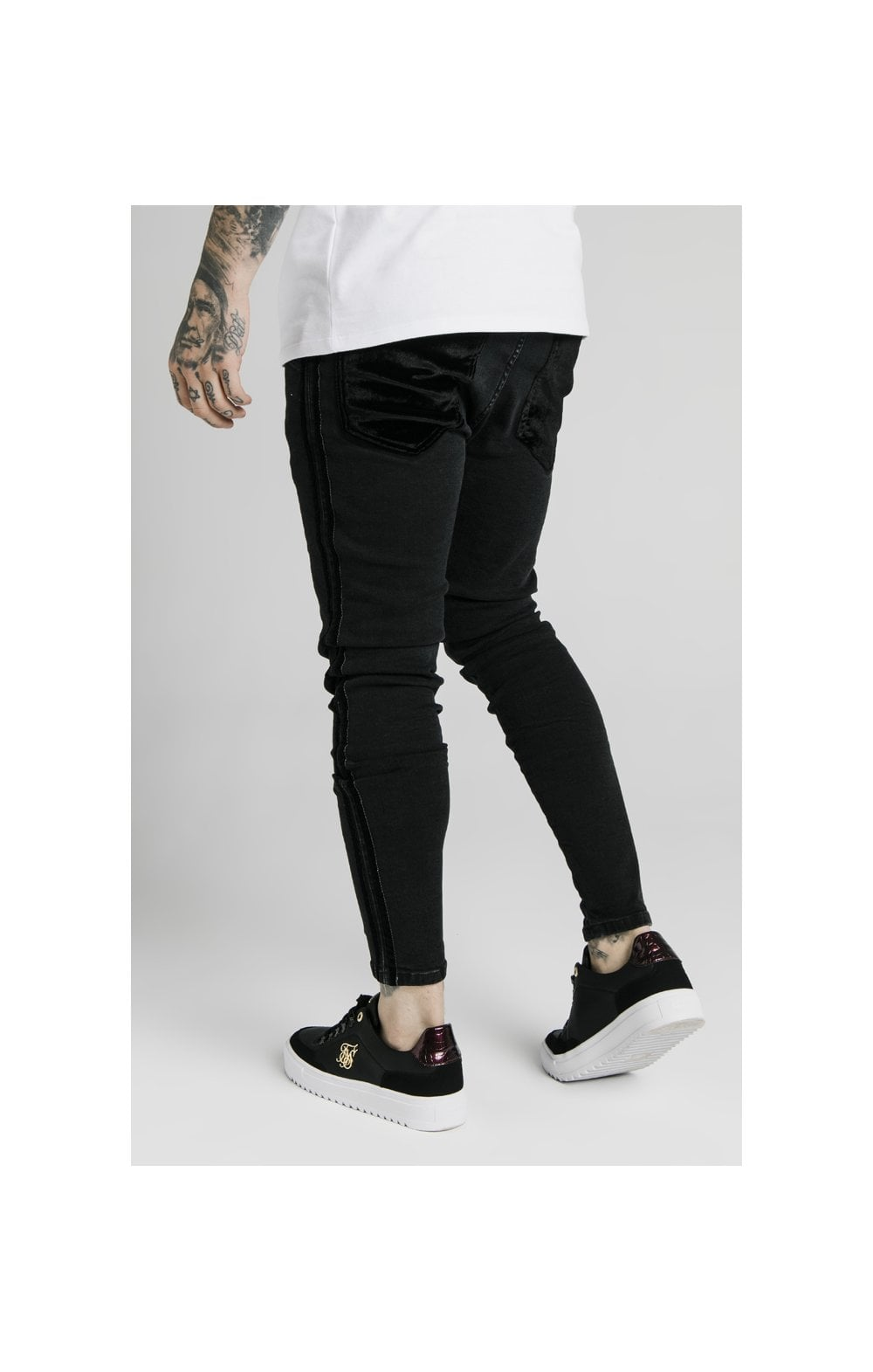 SikSilk Skinny Velour Stripe Denims – Black (3)
